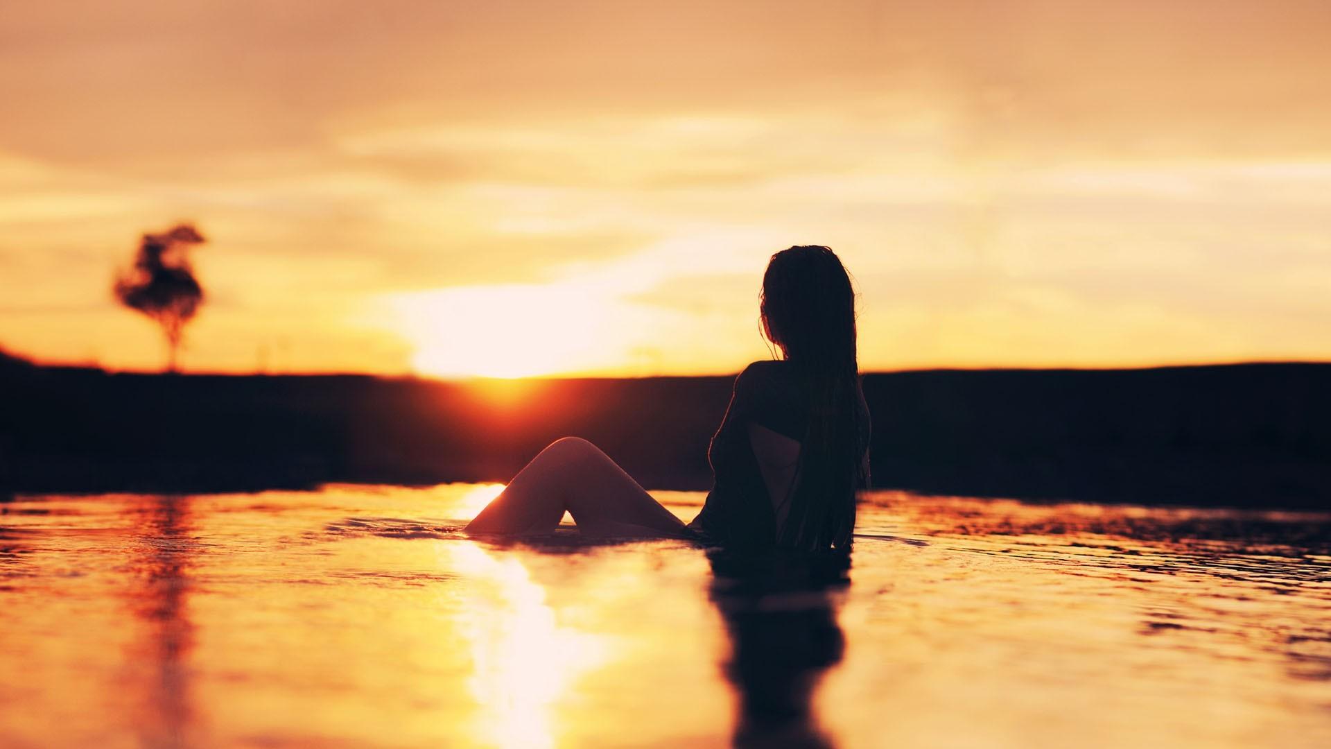 Girl on Australian Beach Sunset Wallpaper