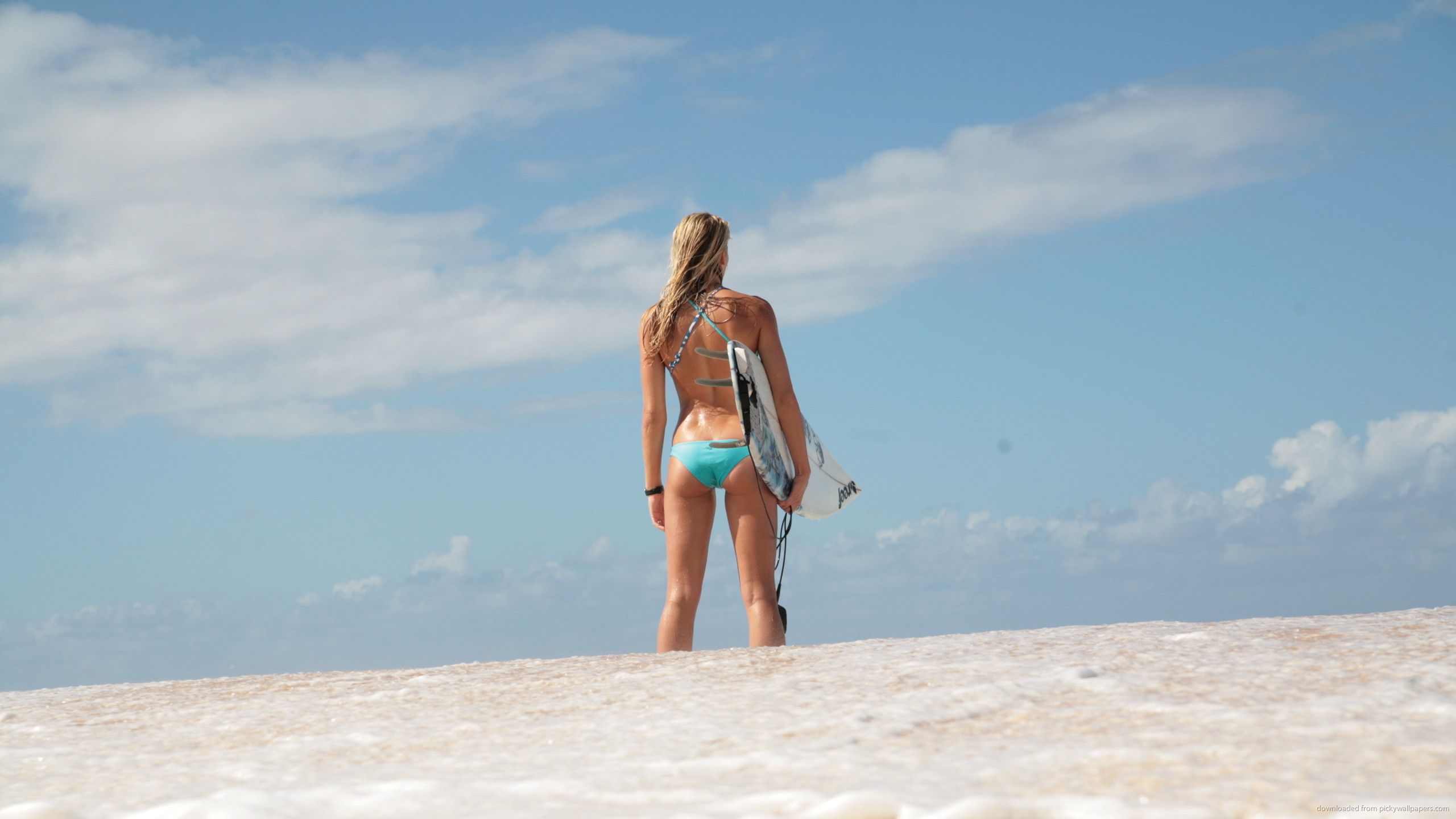 Surfer Girl On The Beach for 2560×1440