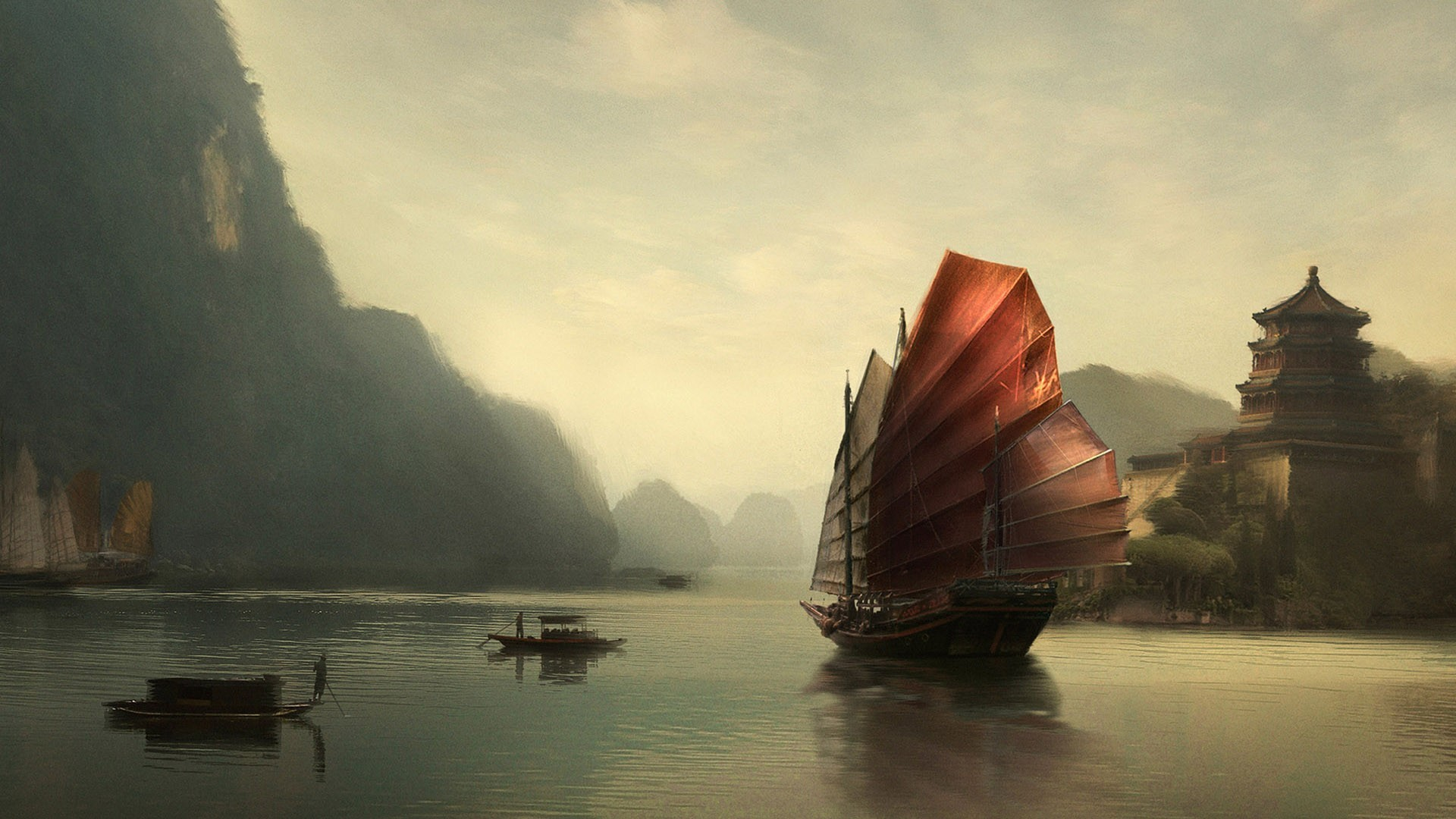 Chinese boat wallpaper