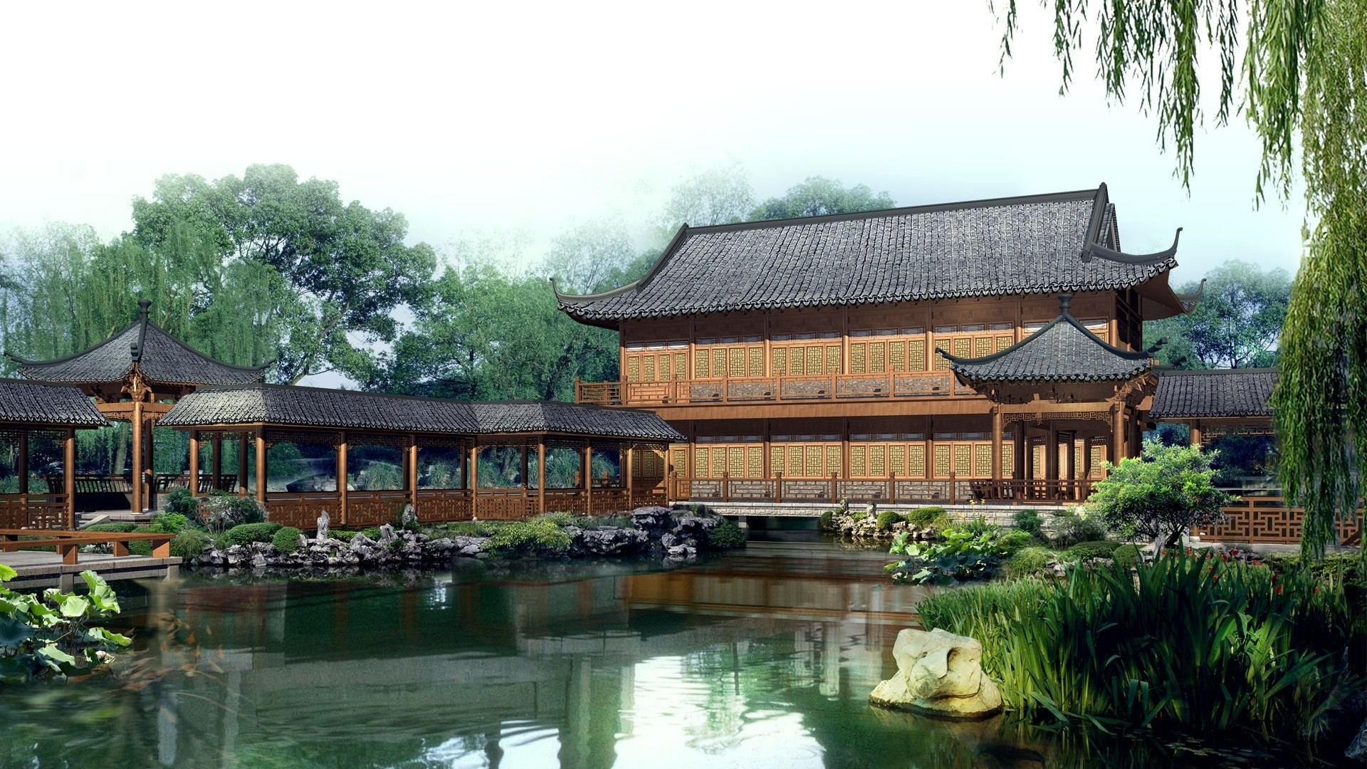Preview wallpaper china, structures, lake, pond, garden, sky, style  1920×1080