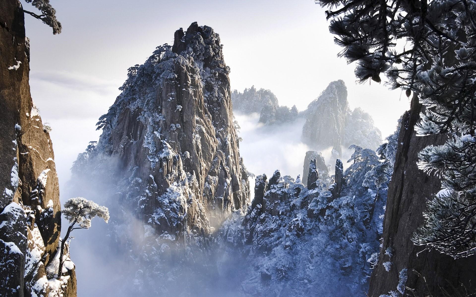 Huangshan Mountain Range, China | Huangshan Mountains in Winter in Anhui China  Wallpaper