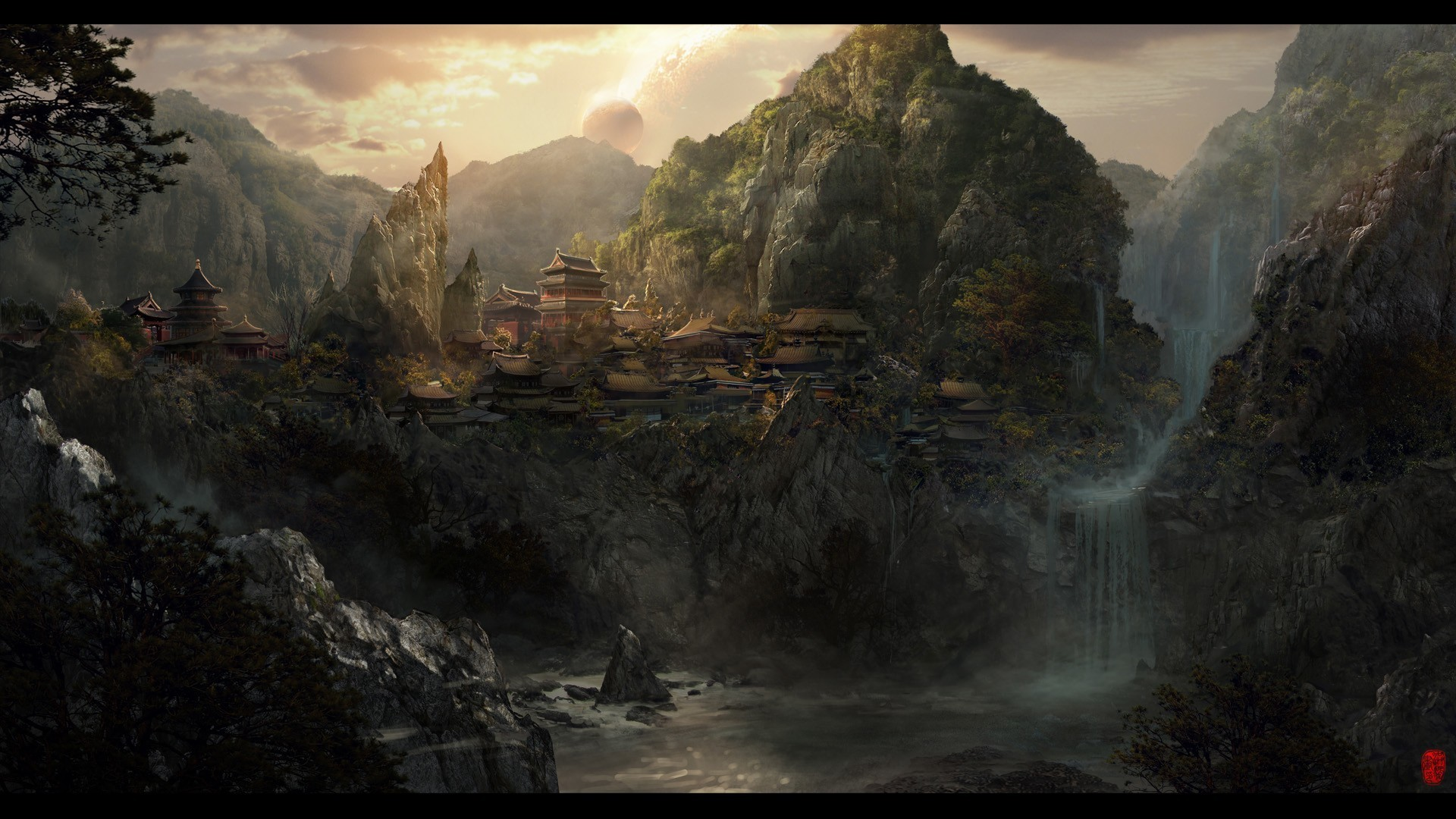 frank-hong frankhong_deviantart_com fantasy asian oriental landscapes  cities castles architecture buildings trees forests waterfalls scenic  jungles rivers …