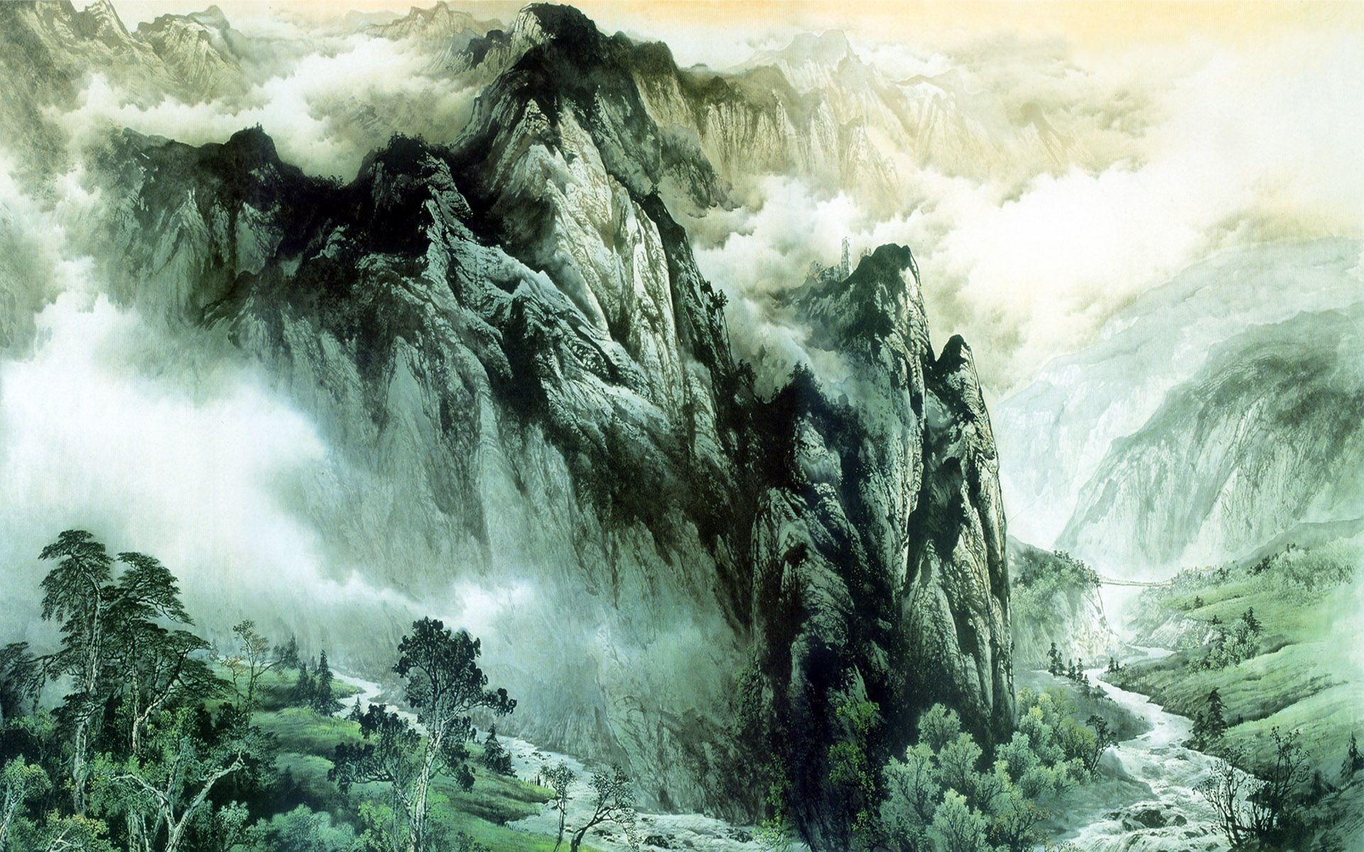 Chinese ink painting mountains and rivers Wallpapers
