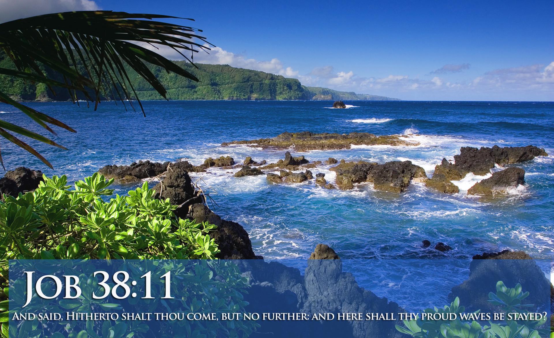 Job 38:11 Ocean View With Scripture HD Wallpaper
