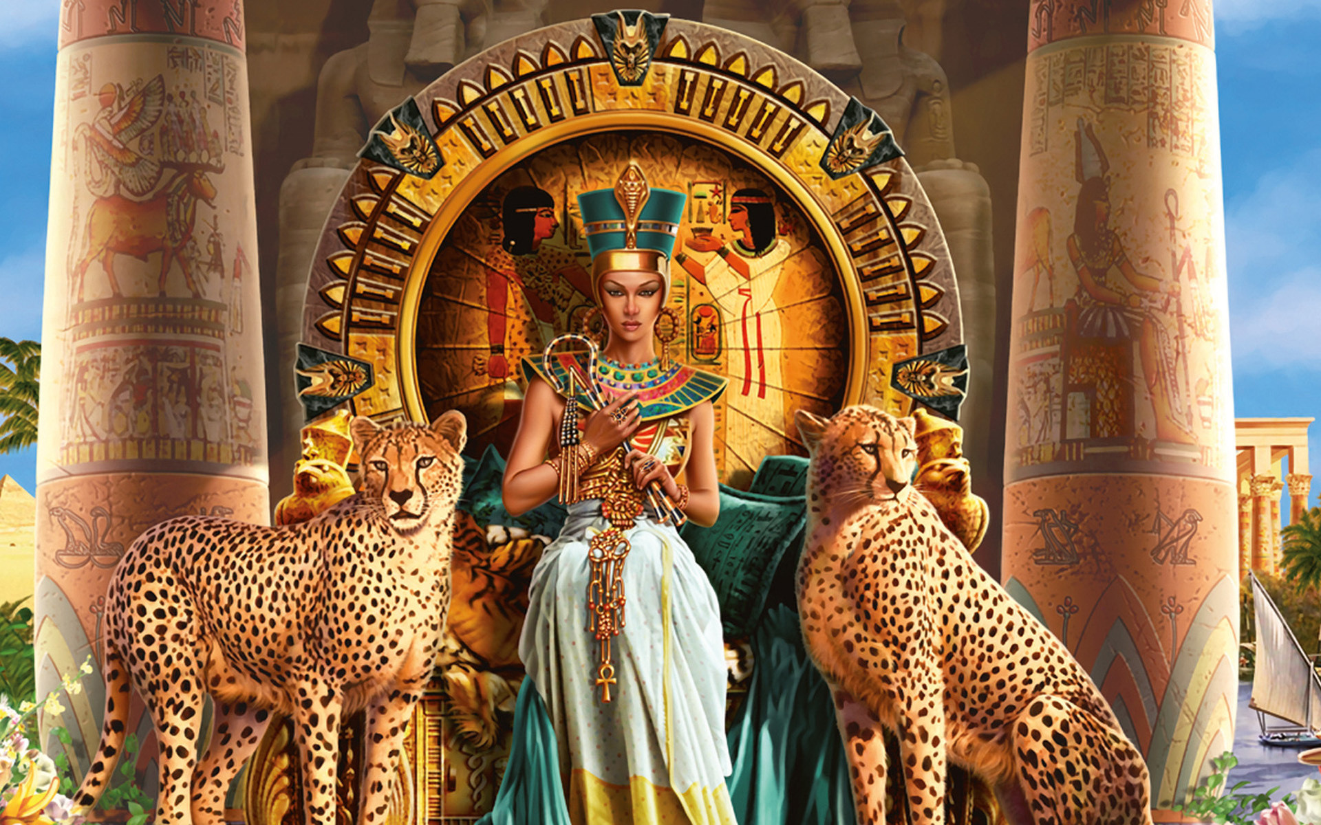 Cleopatra VII Philopator pharaoh Ancient Egypt Ptolemaic dynasty Egyptian  animals cats cheetah throne color detail jewelry
