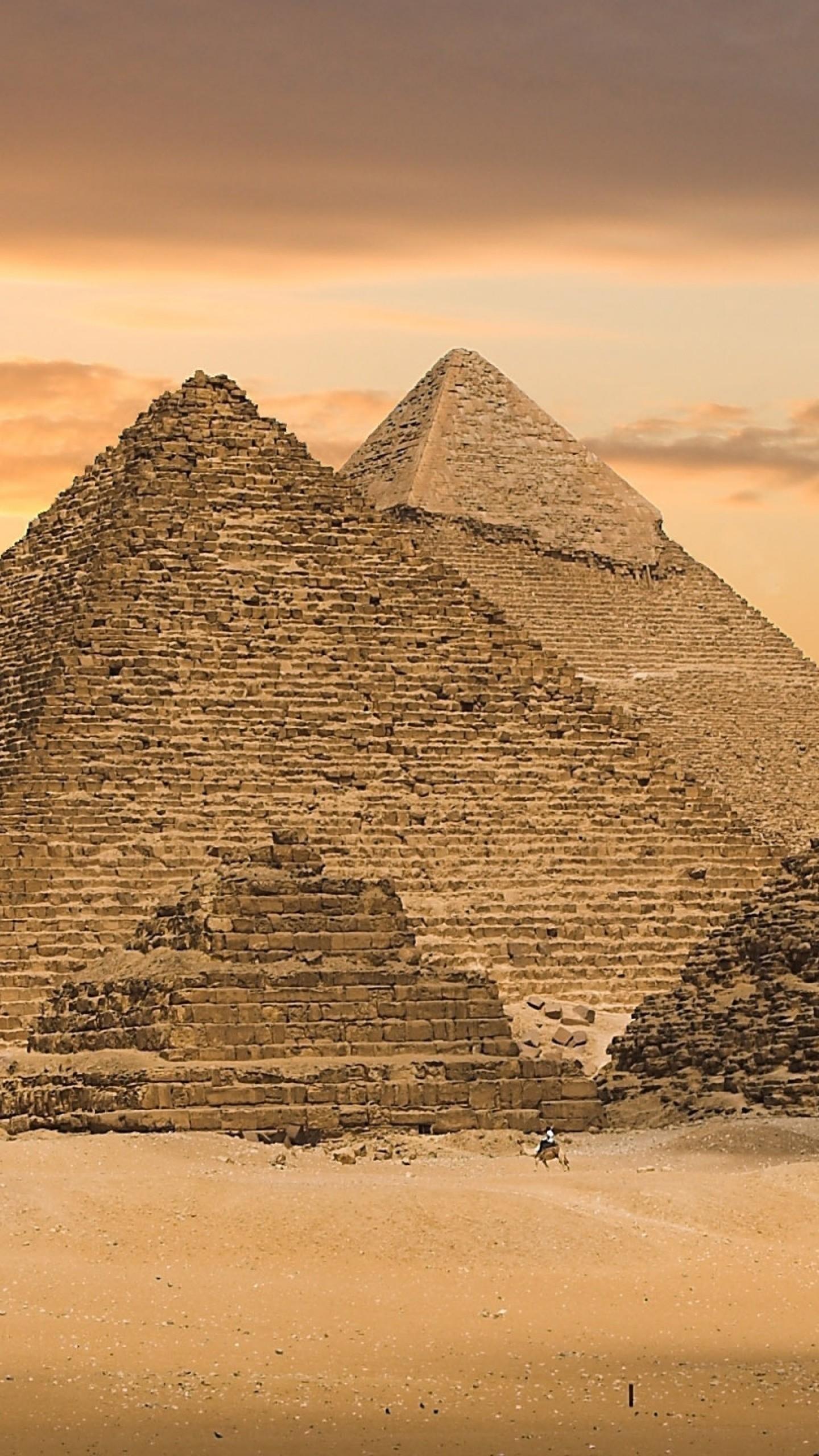 Preview wallpaper egypt, pyramids, sand, sunset 1440×2560