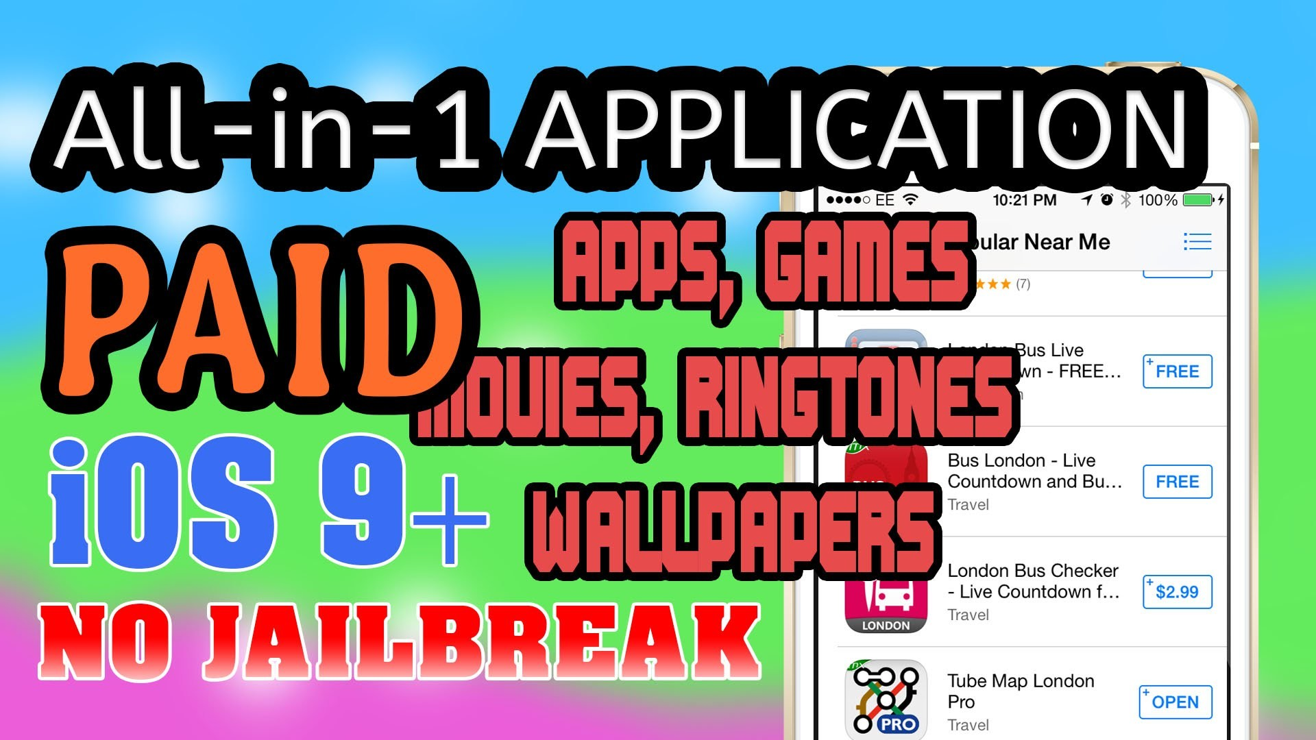 All-in-1 App: Paid Apps, Games, Ringtone, Wallpapers (NO JAILBREAK) iPhone  iPad iPod Touch iOS 9