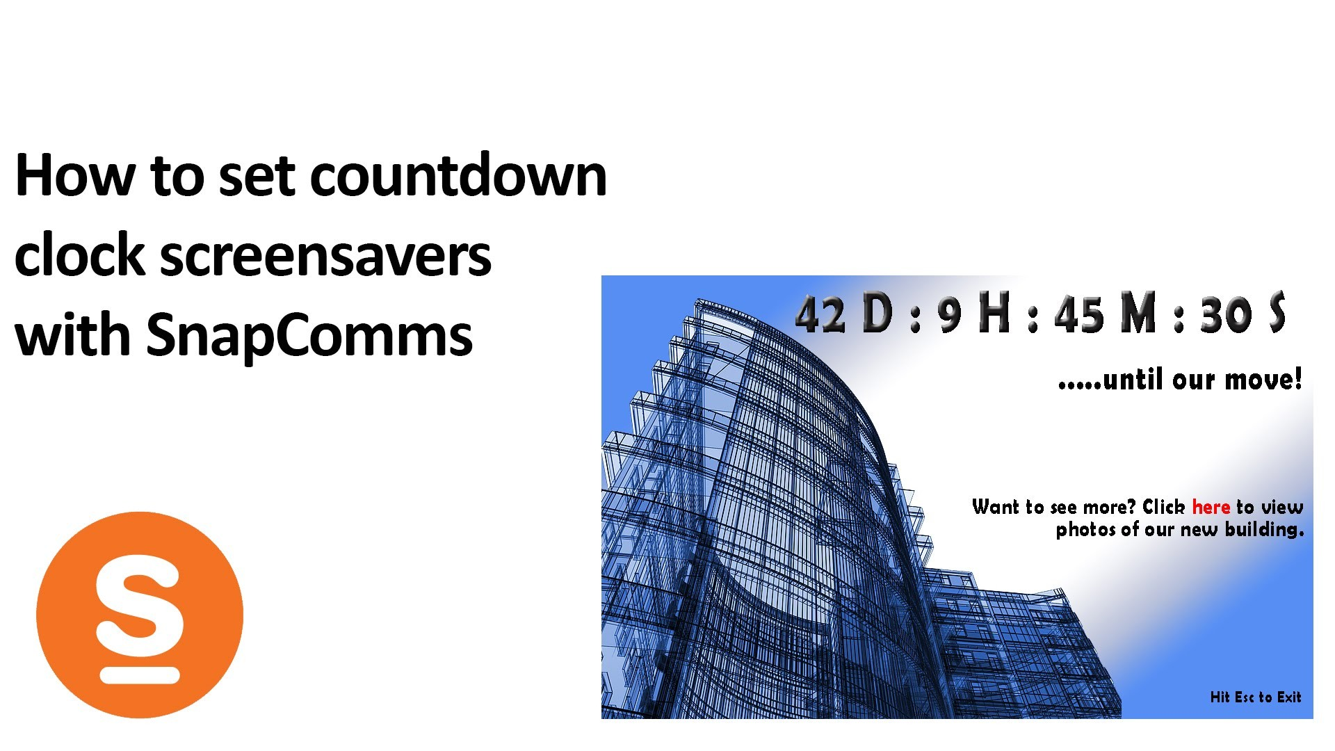 How to put a count down clock on a company screensaver with SnapComms –  YouTube