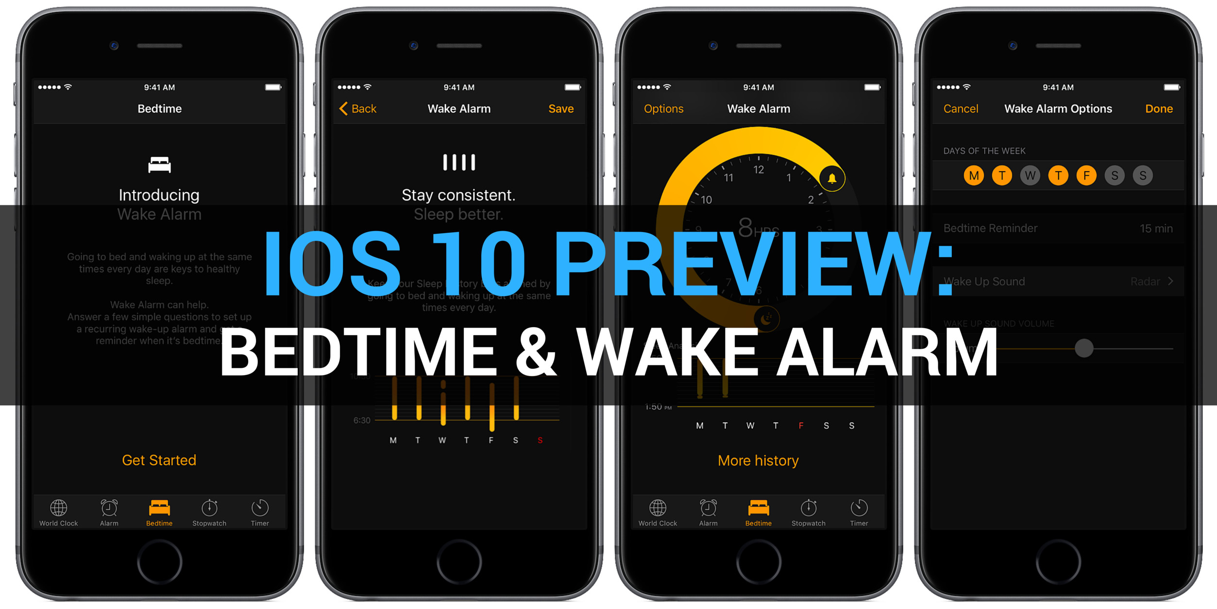 iOS 10 Preview Clock app Bedtime Wake alarm teaser 001