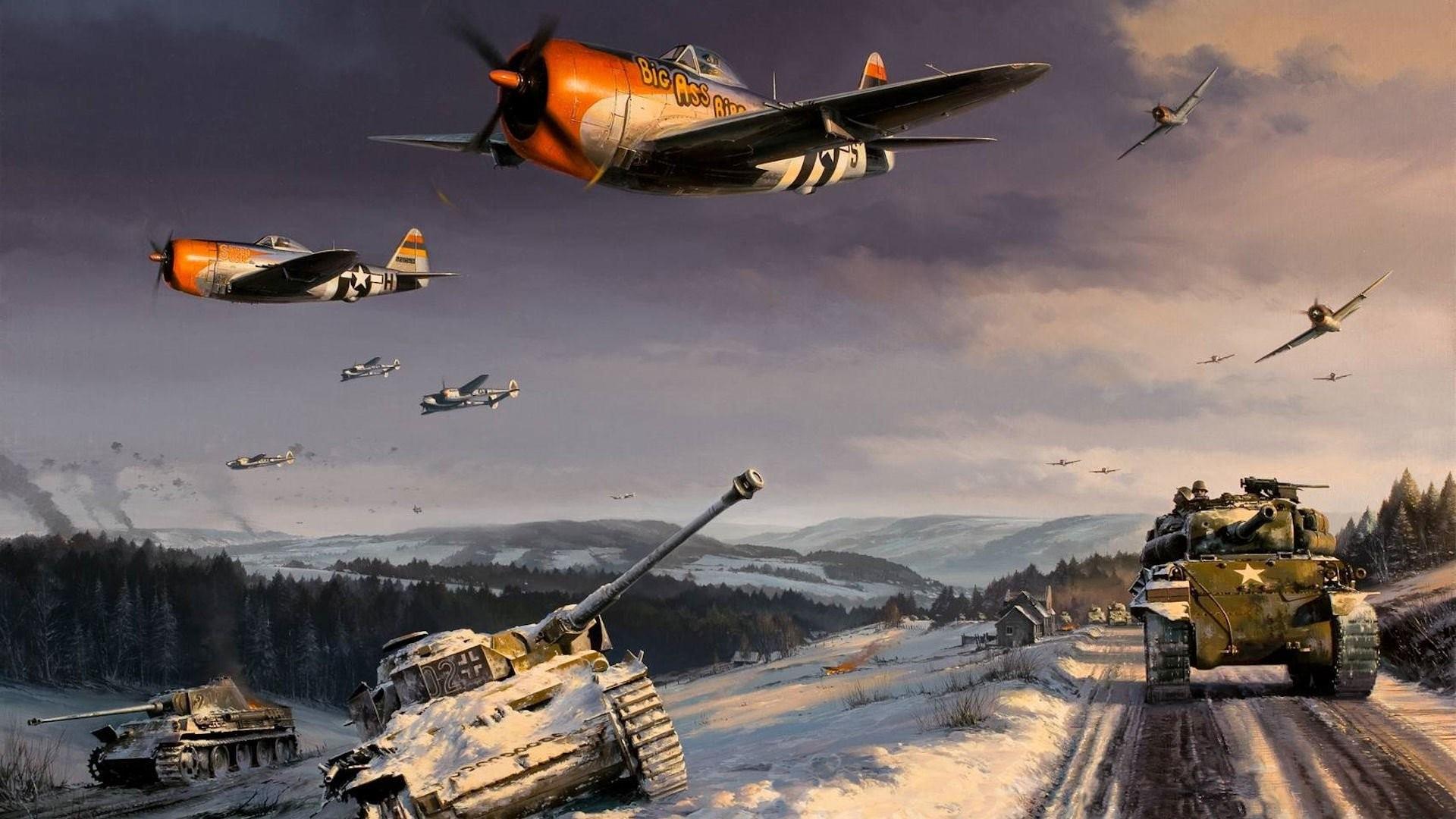 p47 thunderbolt p38 lightning world war ii battle of the ardennes sherman  art picture