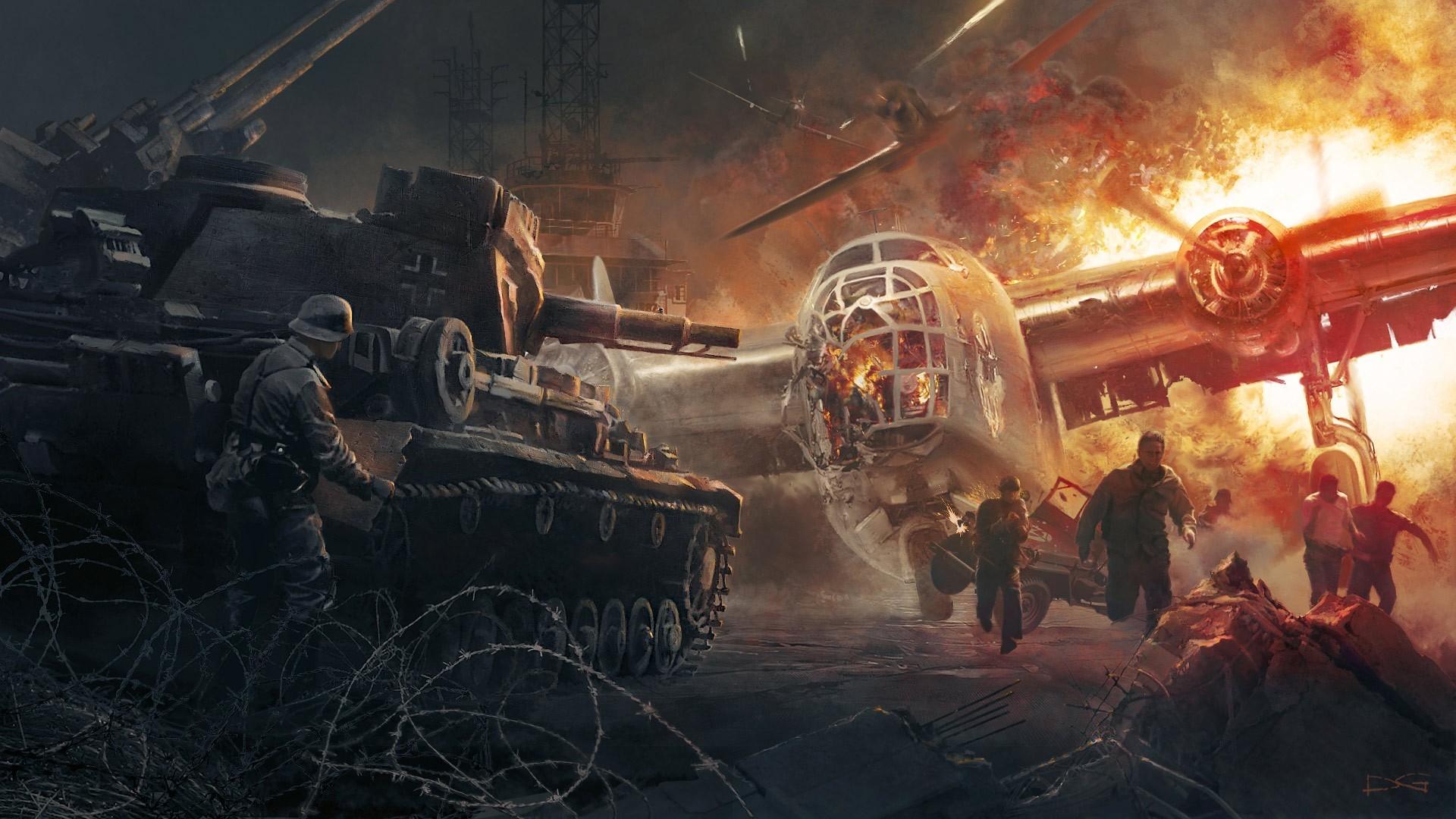Military Battle World War II World War Airplane Bomber Explosion Fire .