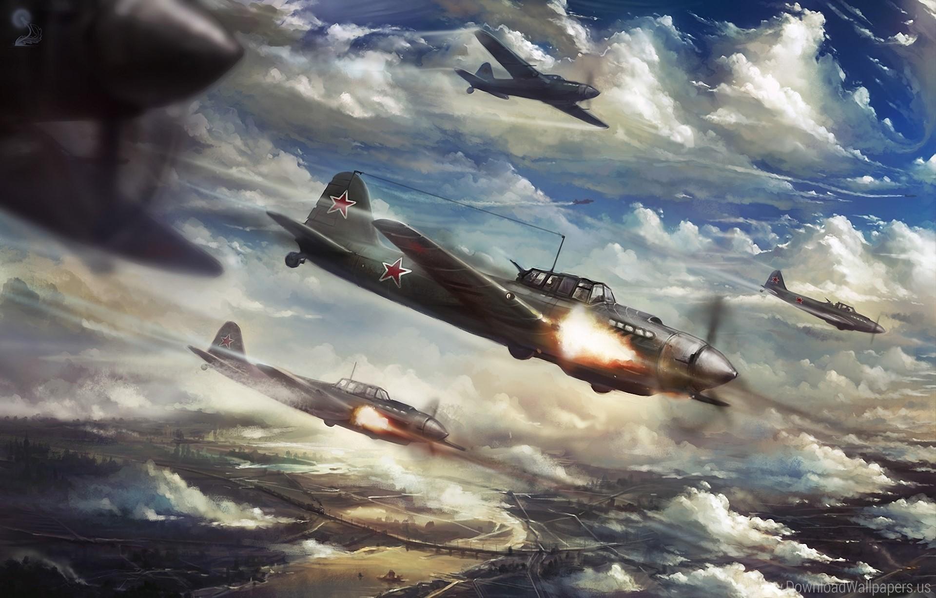 Aircraft, Art, Attack, Attack, Clouds, Fire, Ilyushin Il-2