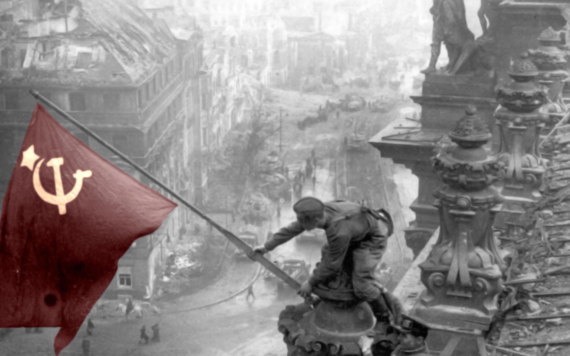 Berlin Russian Flags Selective Coloring USSR War World II