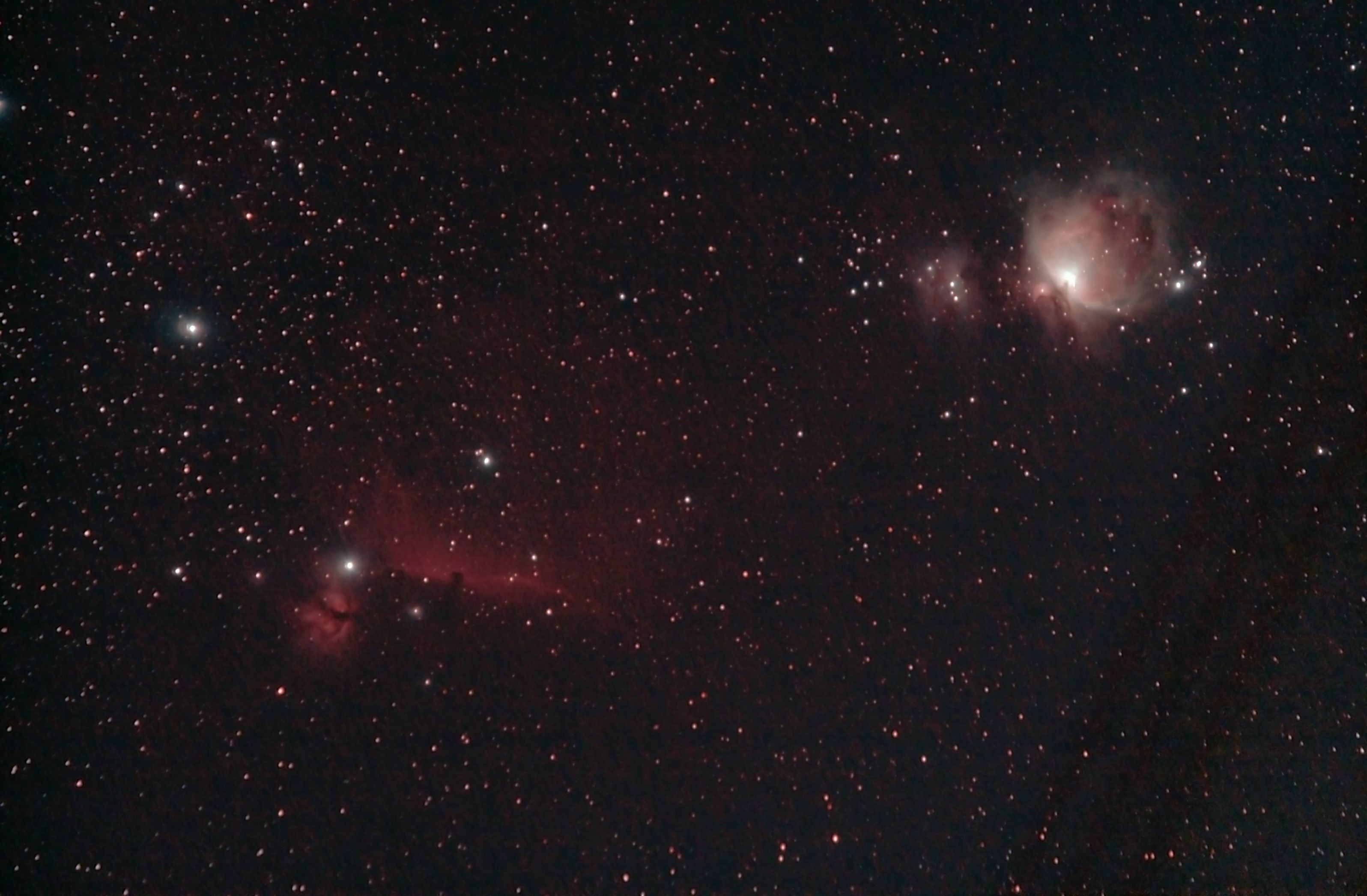 The faint redish stuff connects the horsehead, flame and orion nebula.