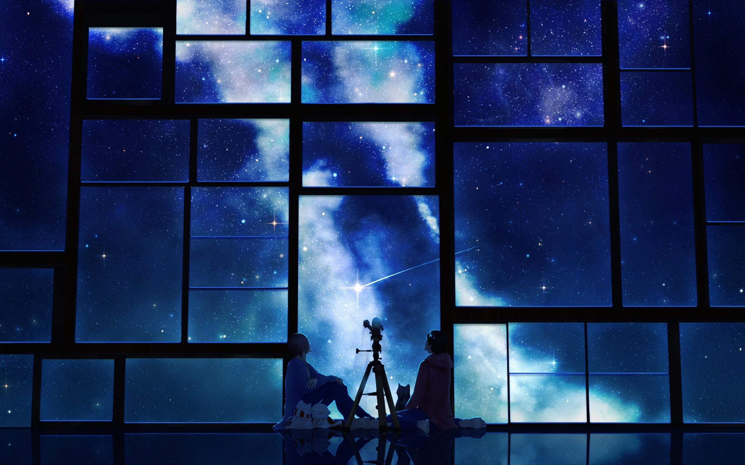 Preview wallpaper tamagosho, sky, stars, telescope, night, window 2560×1600