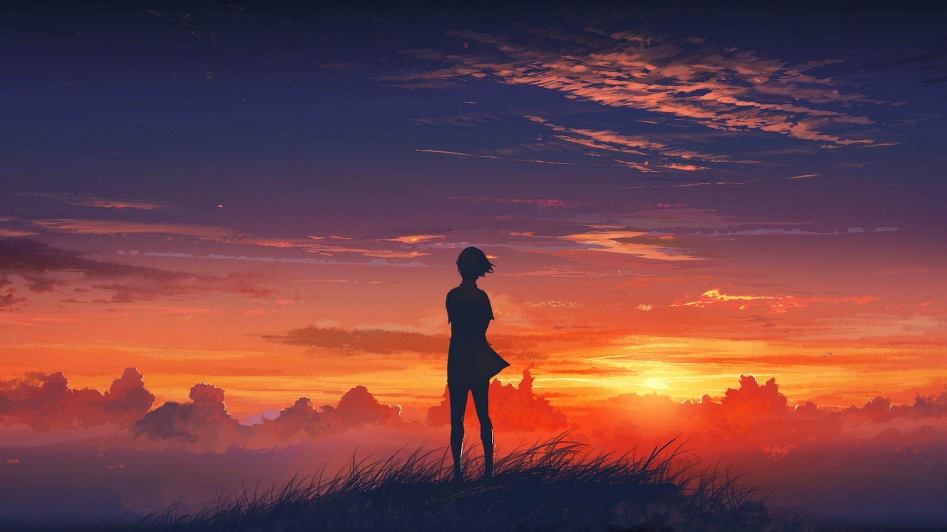 Beautiful Sunset Scenery Drawing
