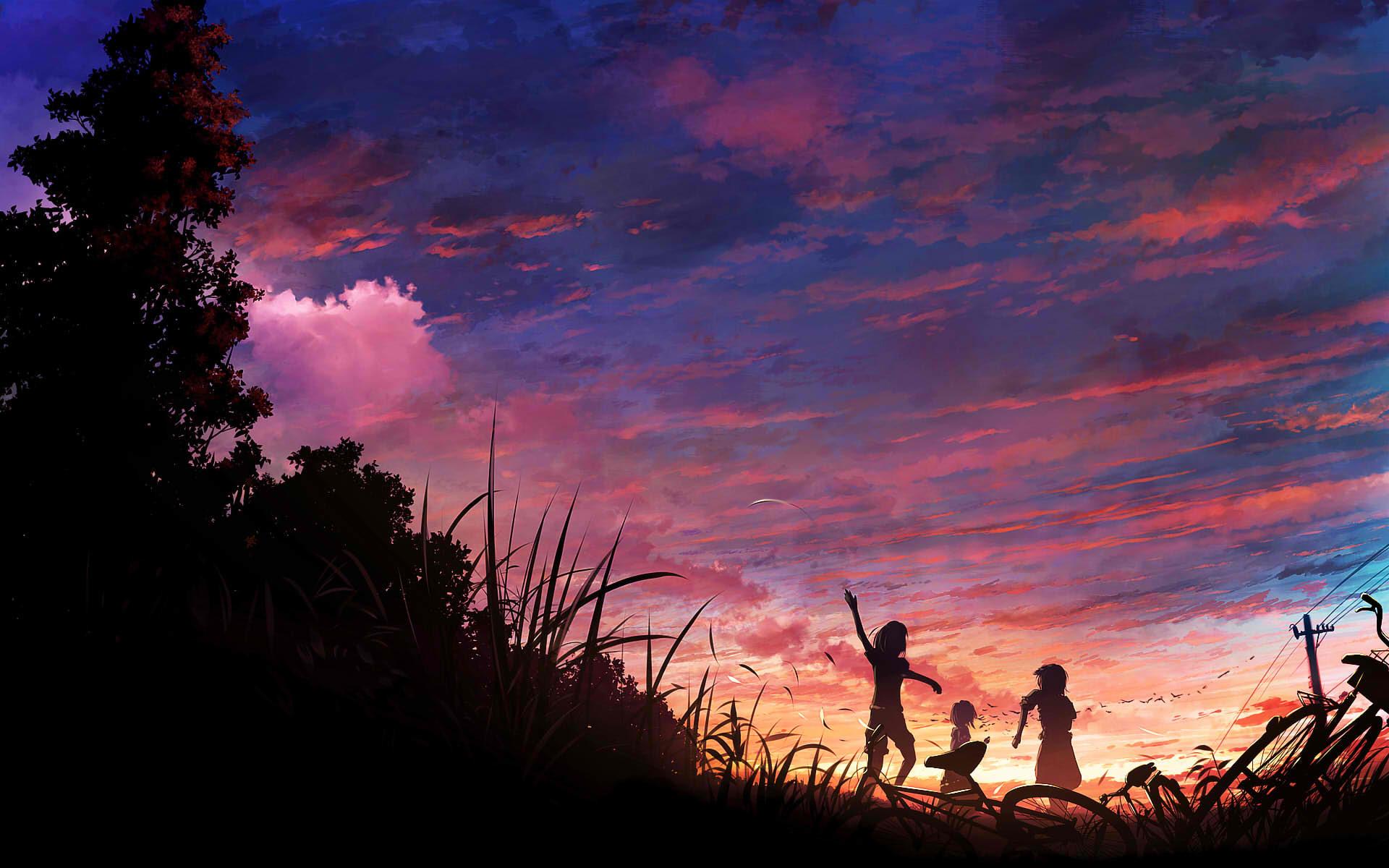 Childrens Playing Sunset Scene