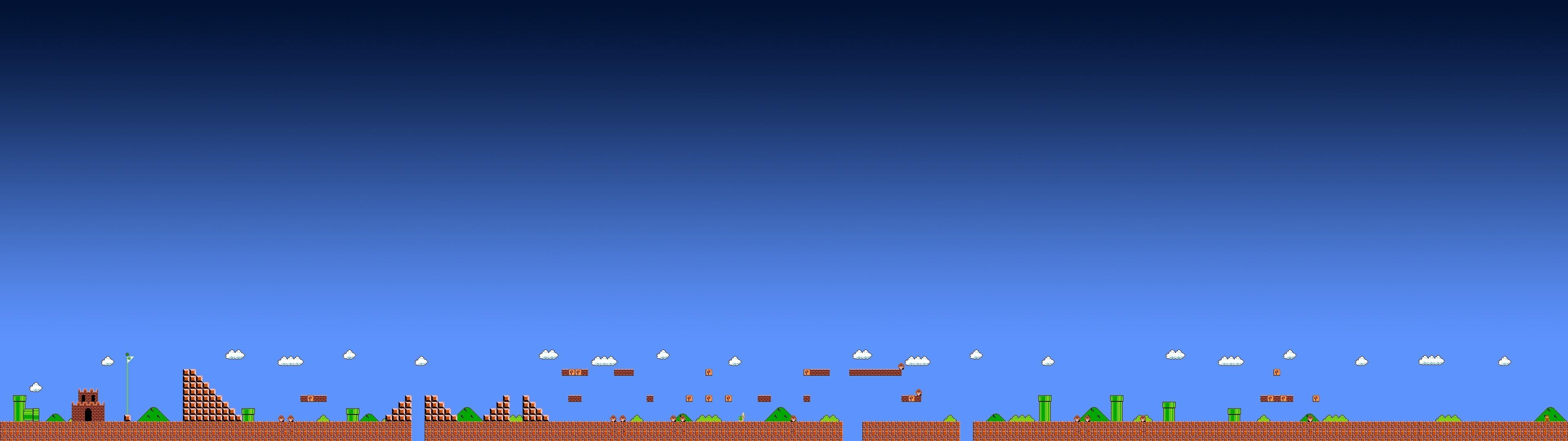 Super Mario, Video Games, Arcade, Pixels, Triple Screen Wallpapers HD /  Desktop and Mobile Backgrounds