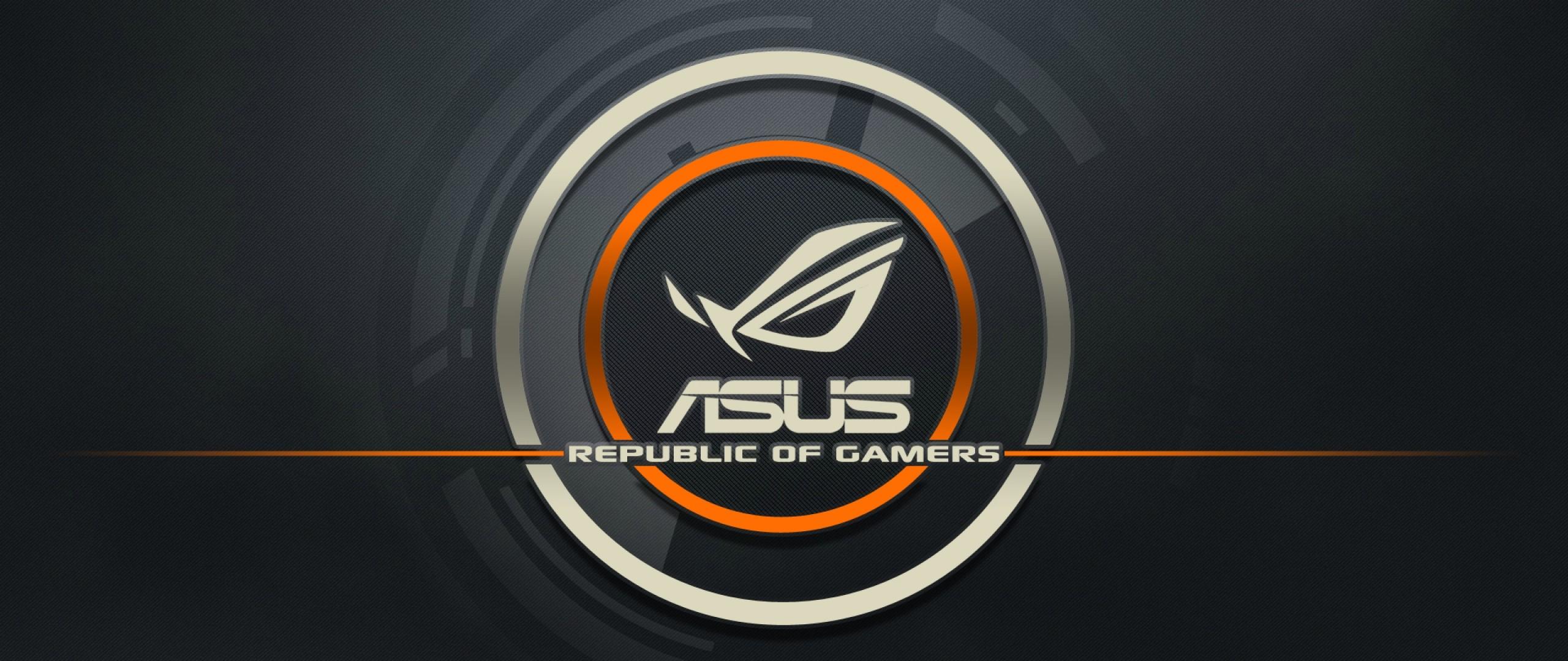 Preview wallpaper asus, logo, republic of gamers, computer 2560×1080