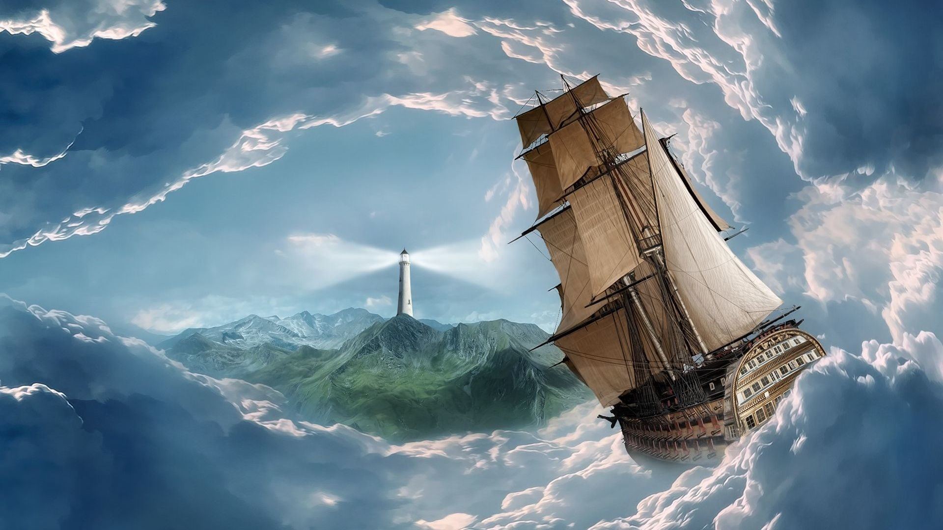 Ship Sailing In The Clouds HD Heavenly Wallpaper Free HD Wallpaper .