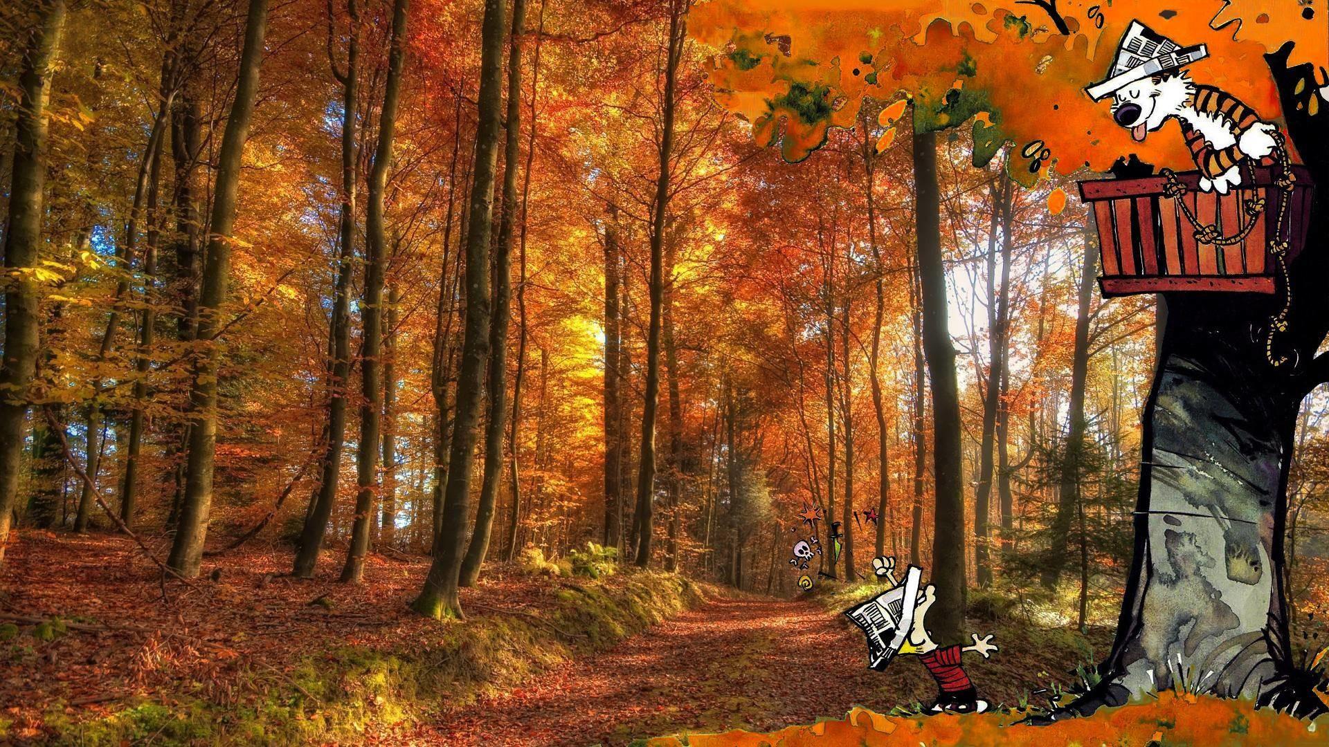 Calvin and hobbes comics autumn forest wallpaper