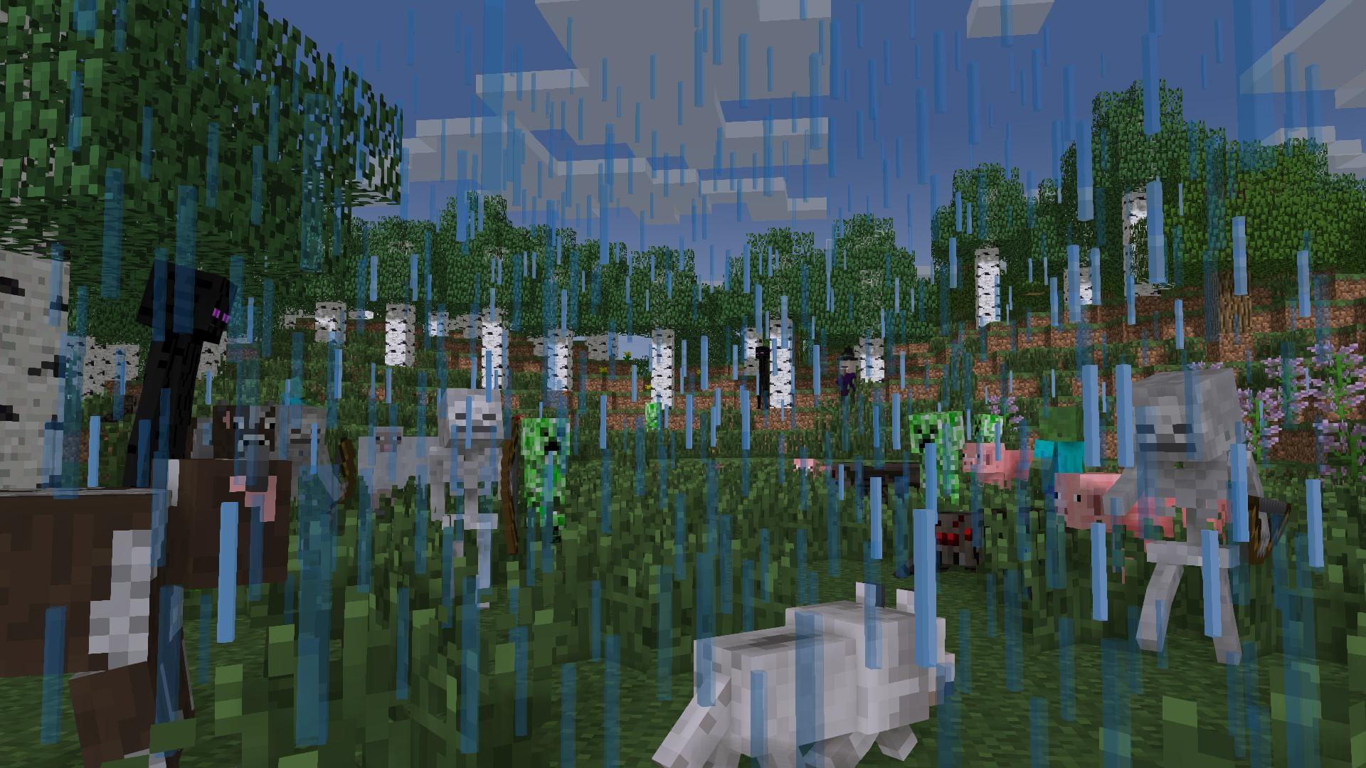 Raining alot in minecraft, not so much on mine-imator.