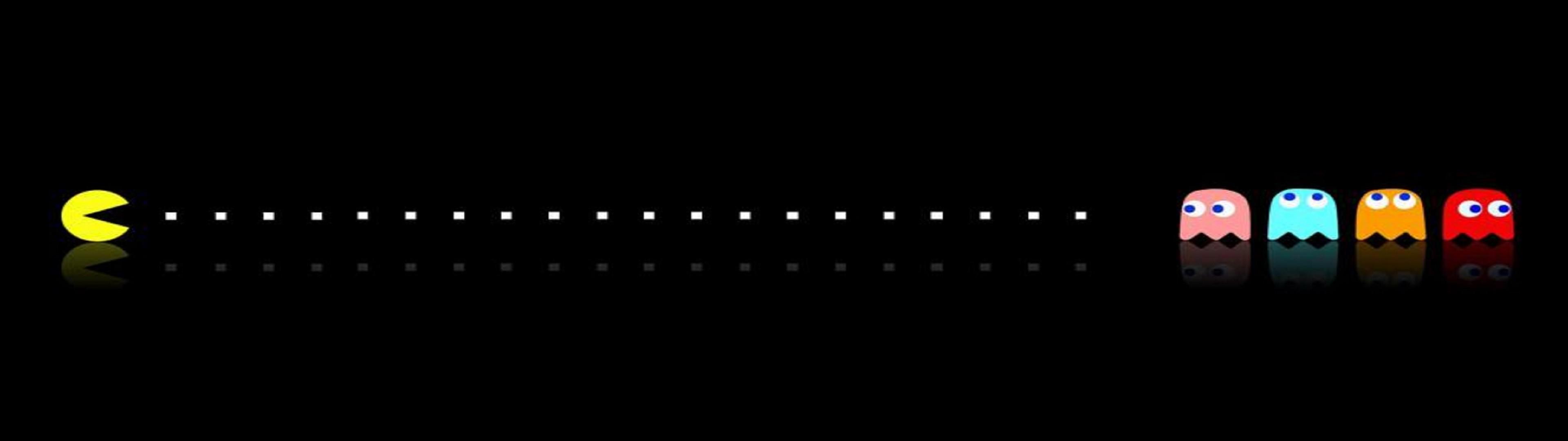 Pac Man Dual Monitor Wallpaper 3840×1080