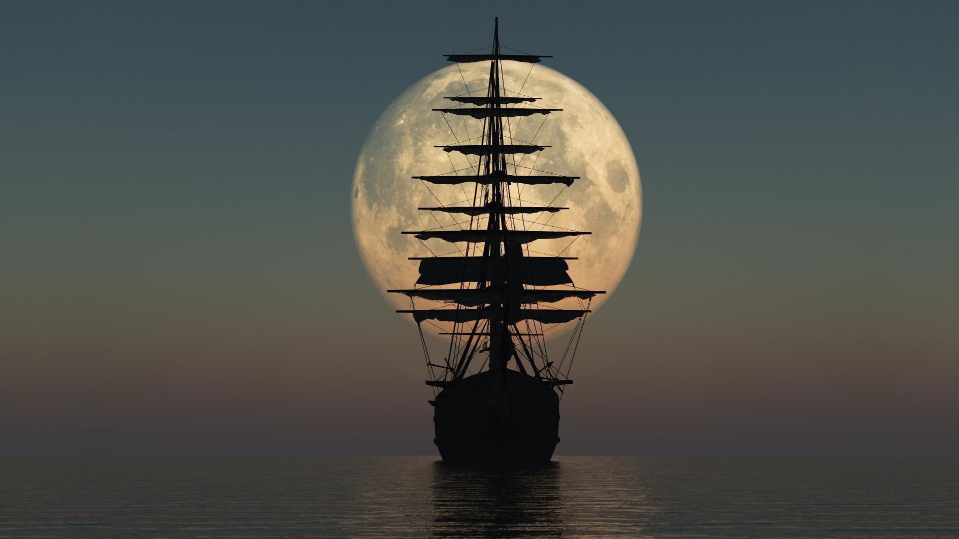 Pirate Ship Silhouette HD Wallpaper » FullHDWpp – Full HD .