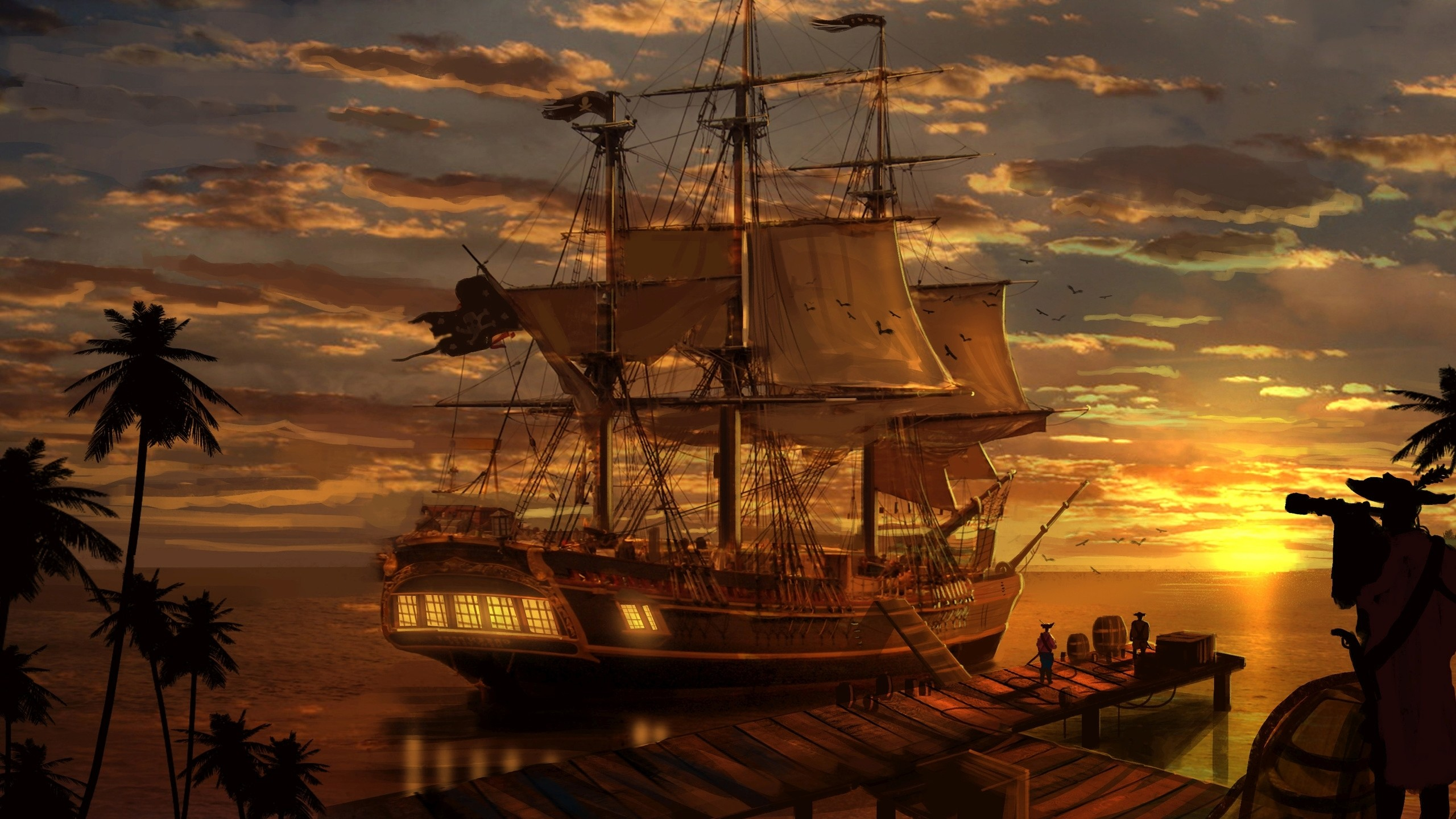 Pirate Ship Wallpaper 2560×1440