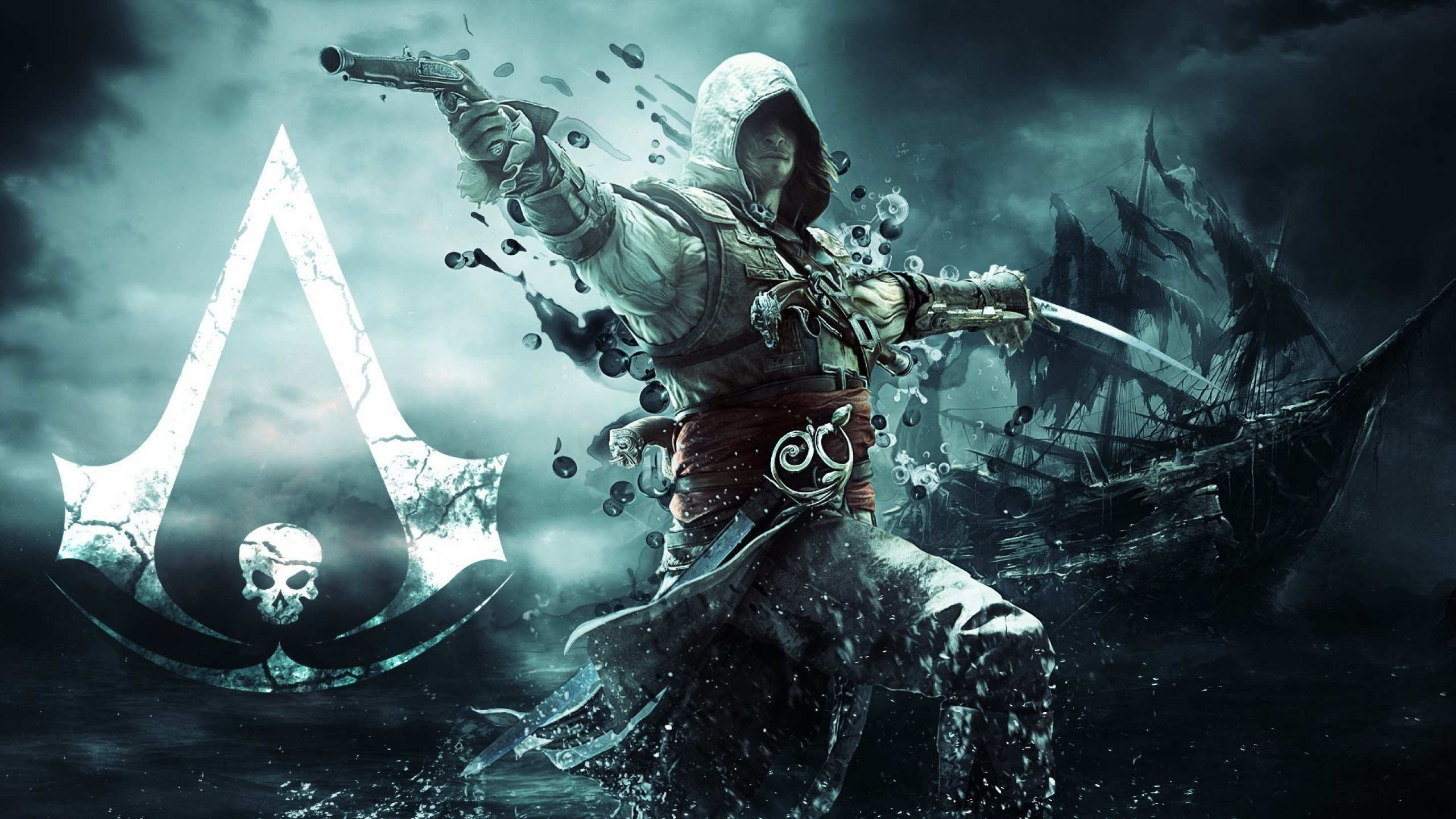 Wallpaper assassin, pirate, edward kenuey, gun, sword, flag, ship