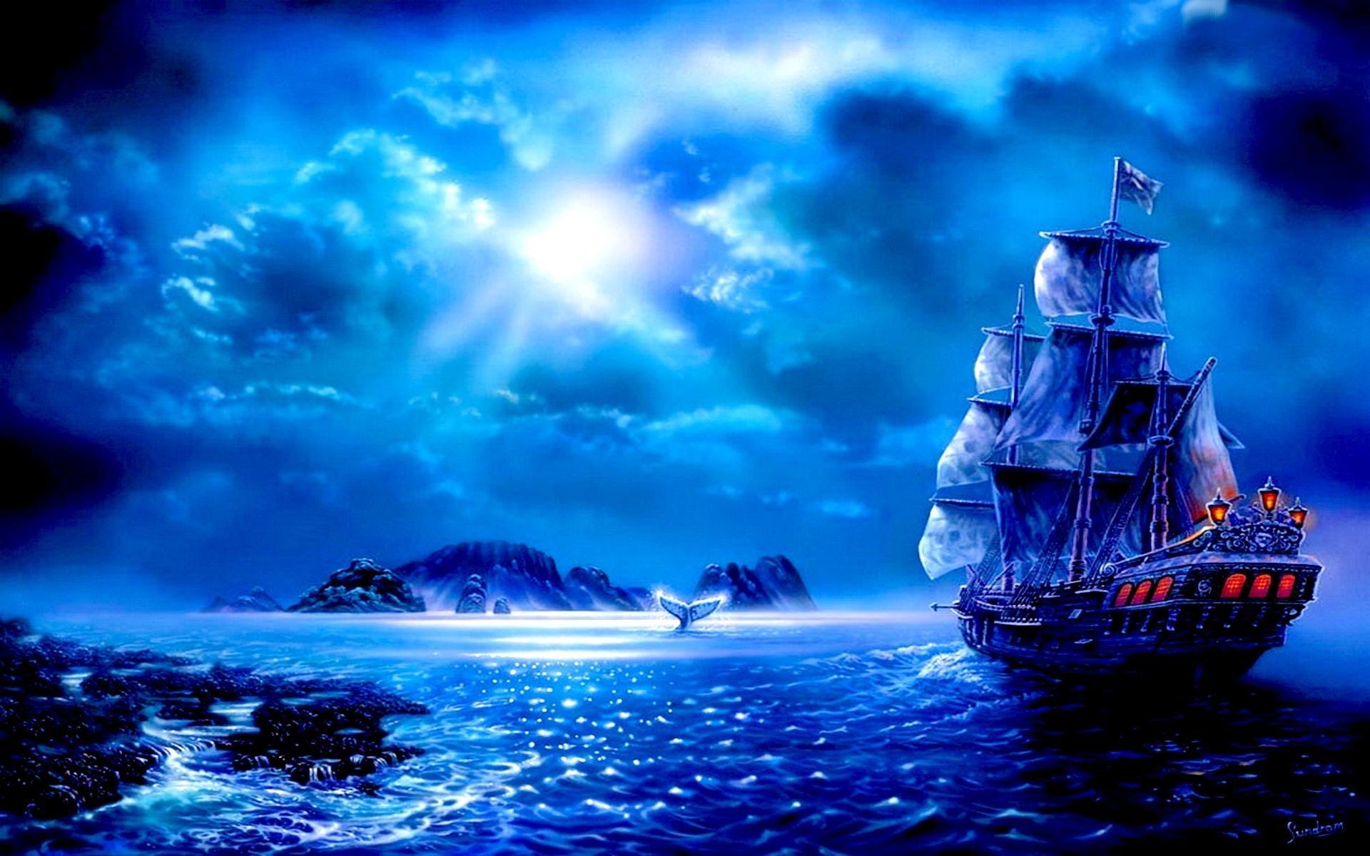 Fantasy – Ship Fantasy Blue Sailboat Moon Cloud Pirate Ocean Wallpaper