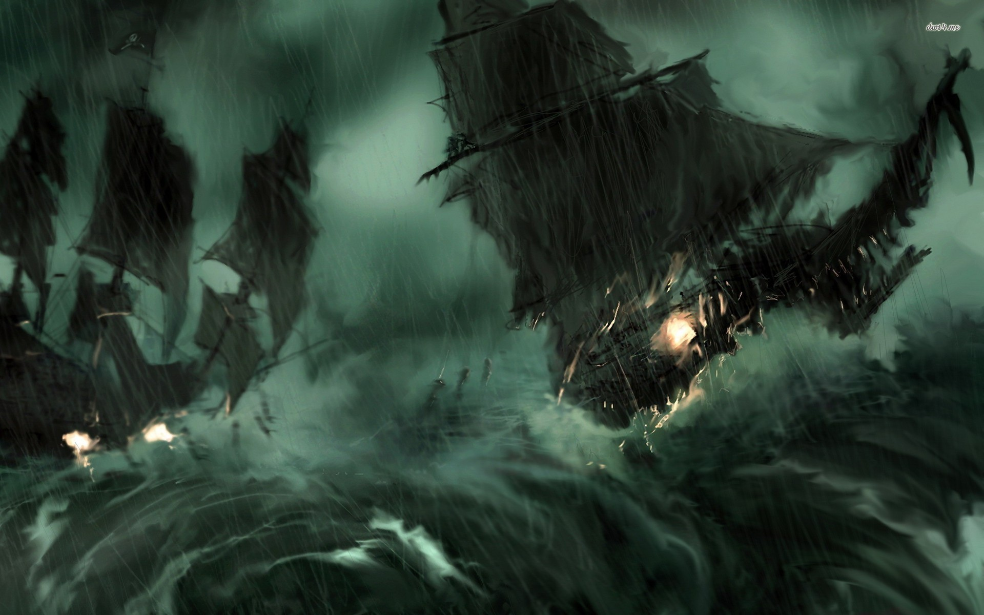 … Pirate ship during the storm