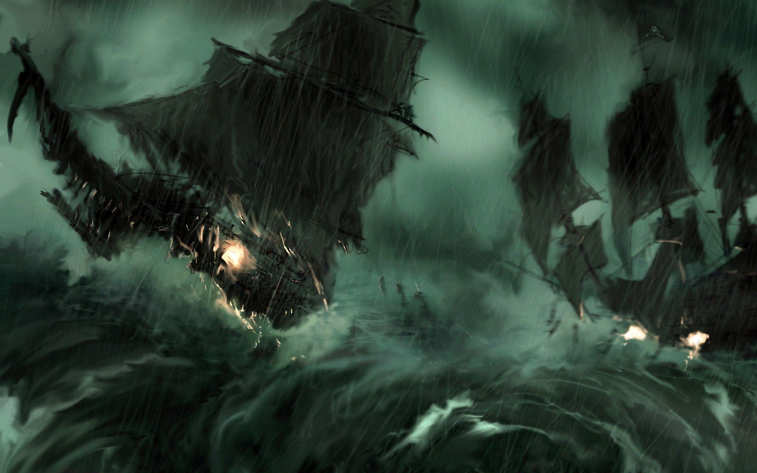 Paintings rain pirate ship storm pirates of the caribbean artwork .