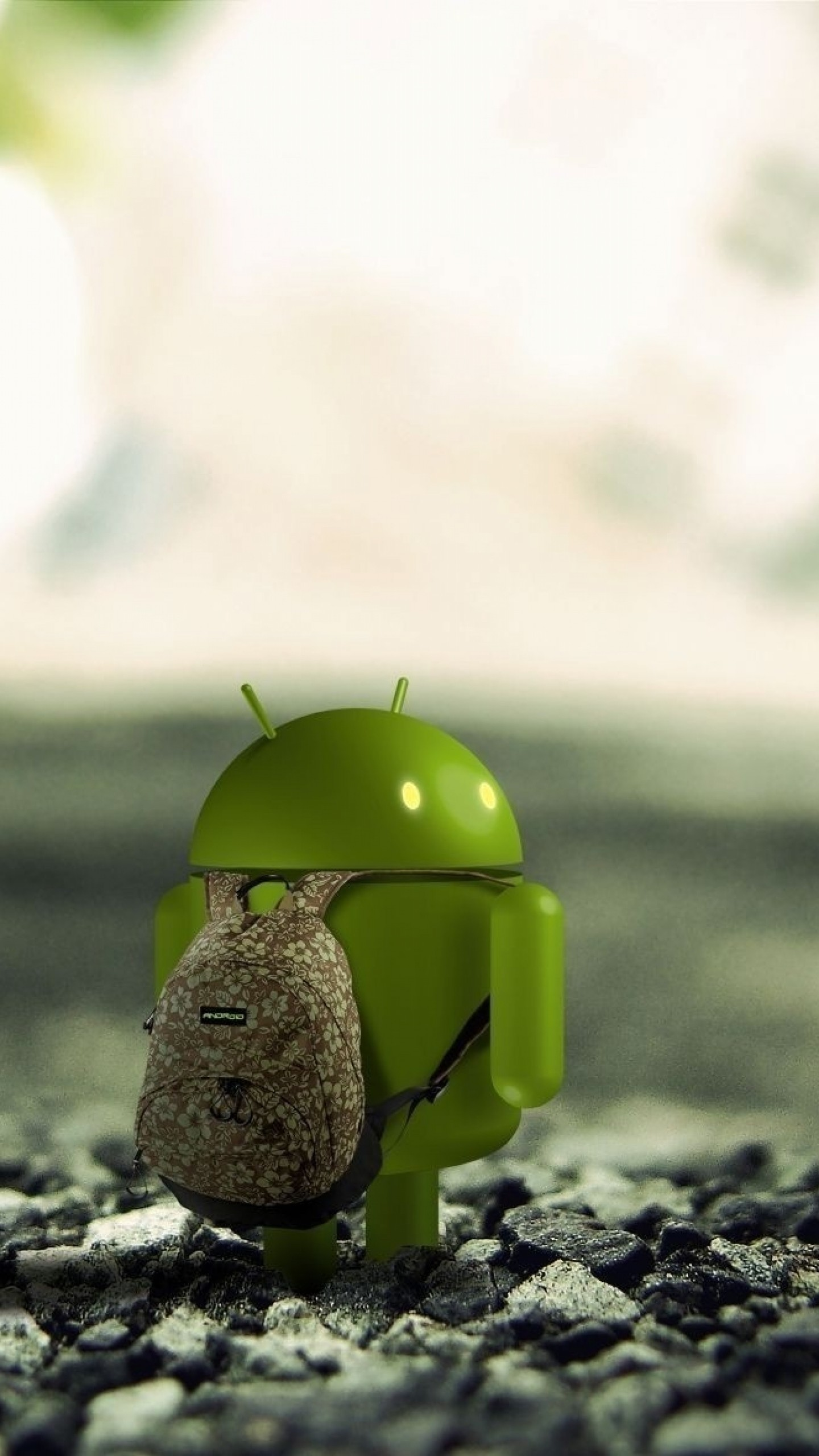 Wallpaper android, robot, backpack, stones