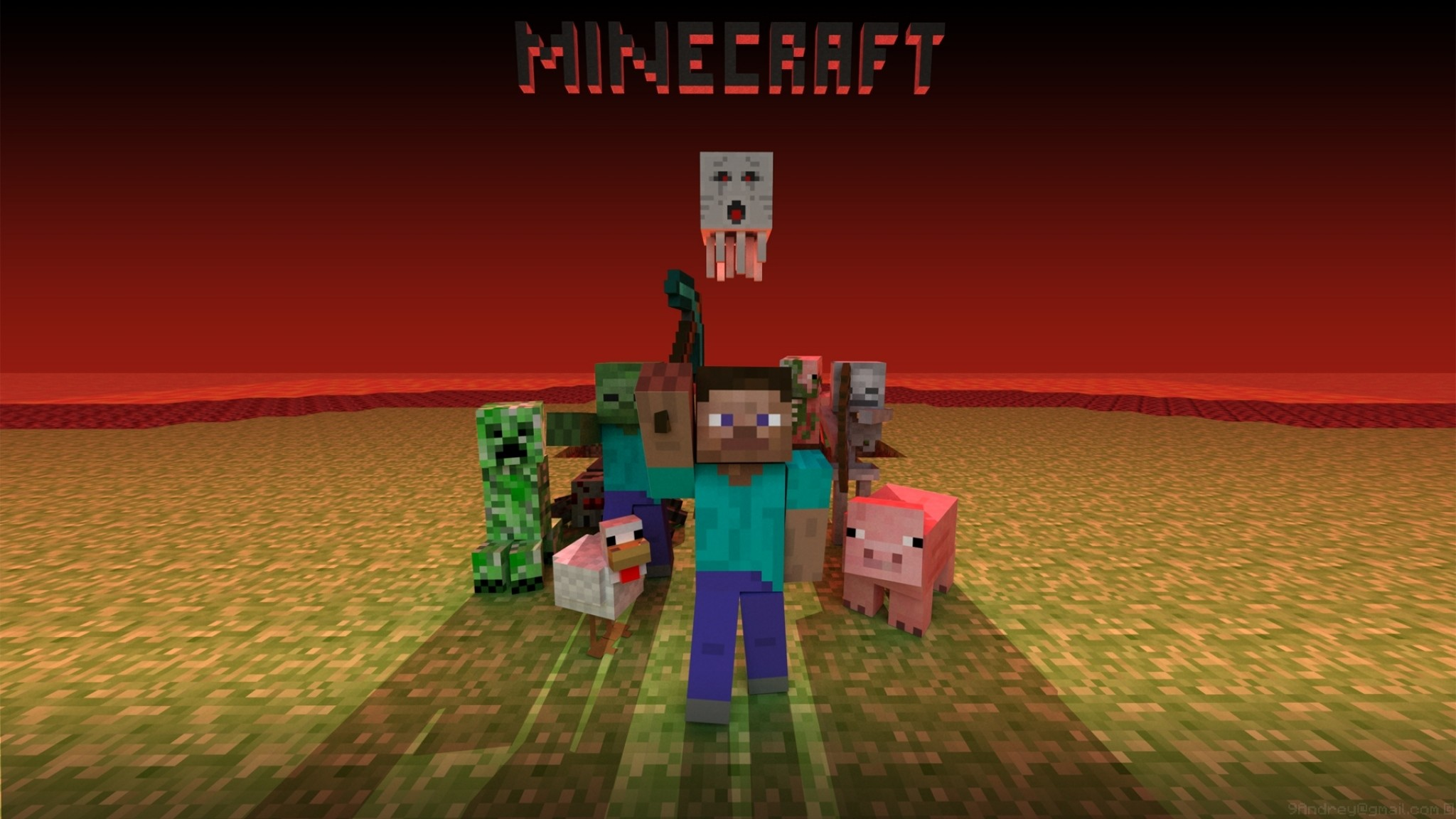 Preview wallpaper minecraft, mobs, creeper, snake, zombie, chicken, pig,