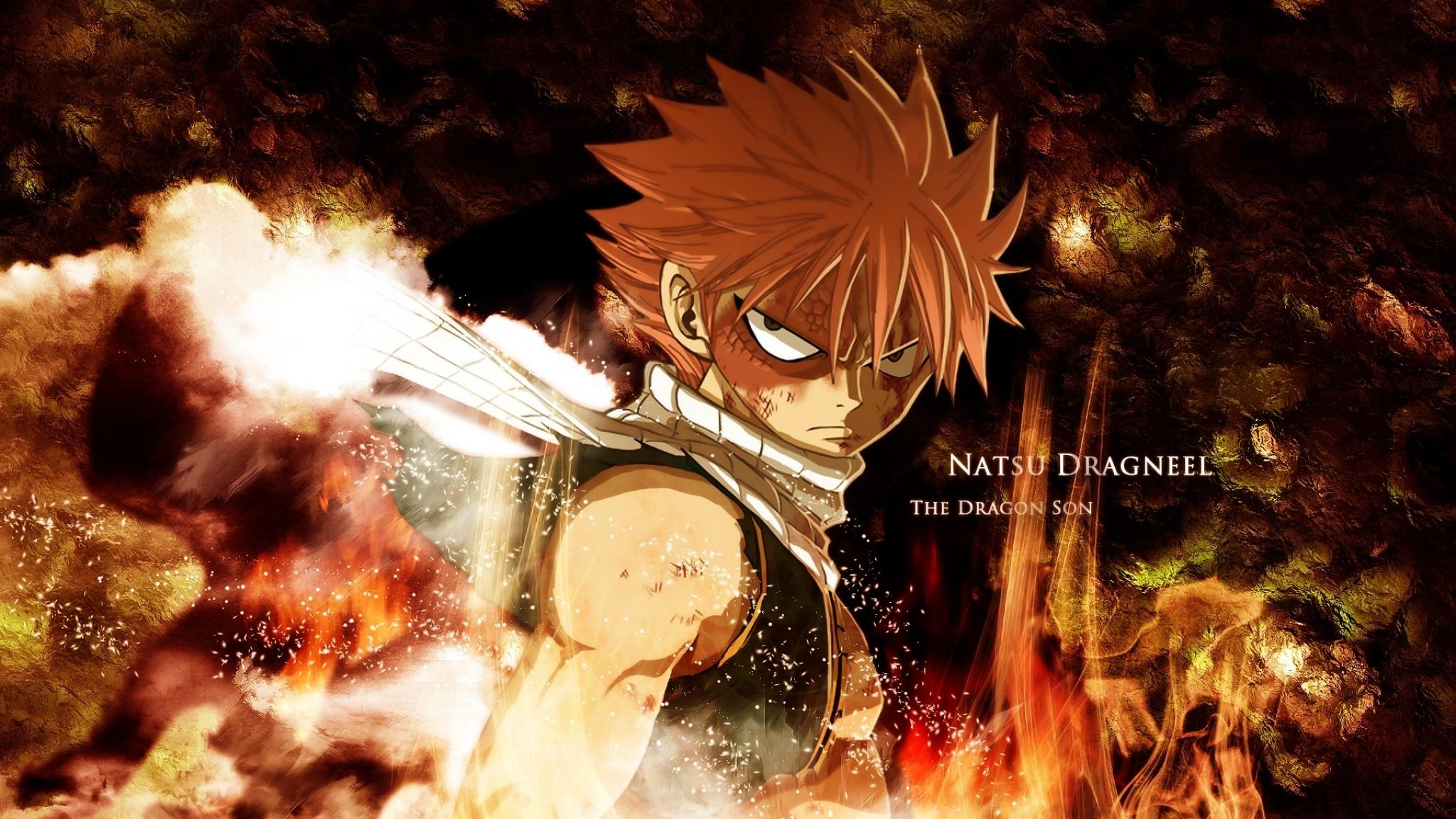 Wallpaper fairy tail, natsu dragneel, boy, look, fire