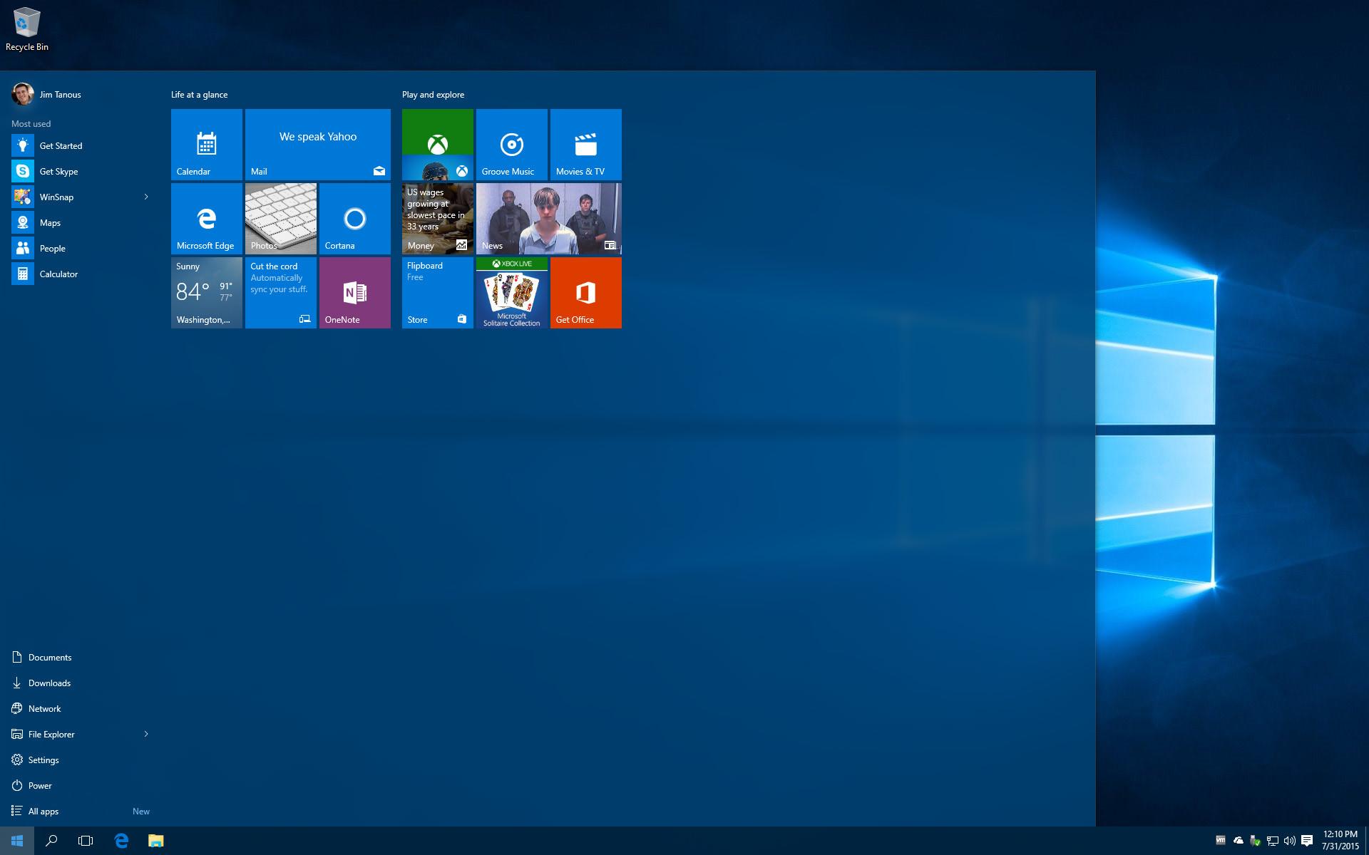 large windows 10 start menu