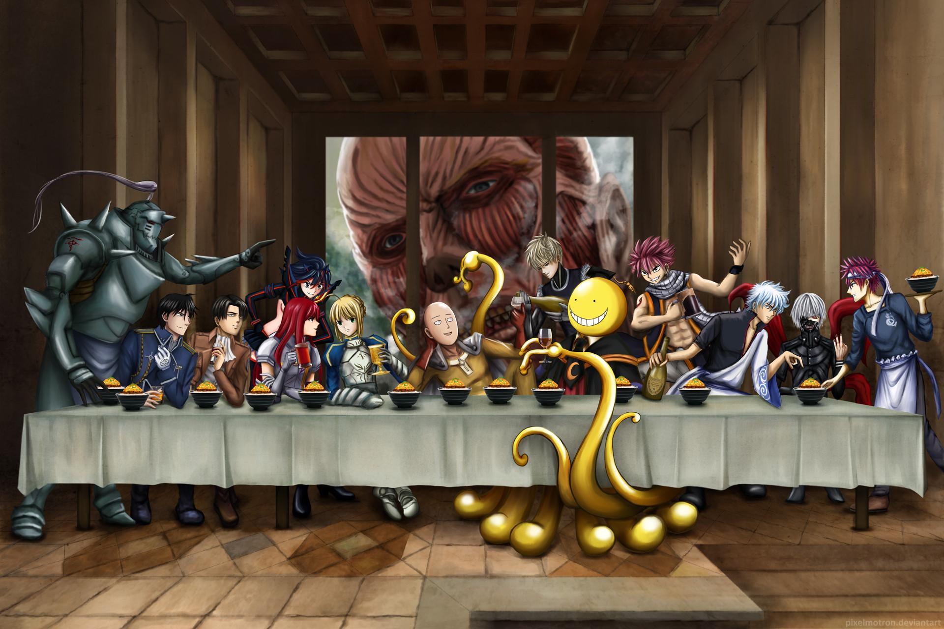 The Last Supper · Anime – Crossover Alphonse Elric Roy Mustang Levi  Ackerman RyÅ«ko Matoi Erza Scarlet Saber (Fate