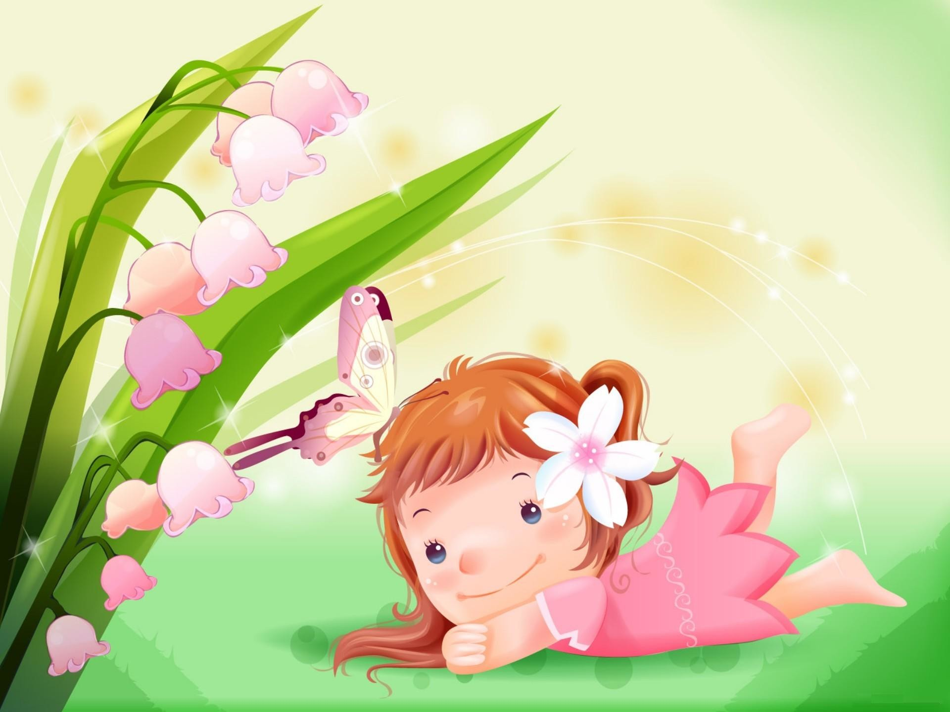 Cute Little Girl with Butterfly Cartoon Wallpaper