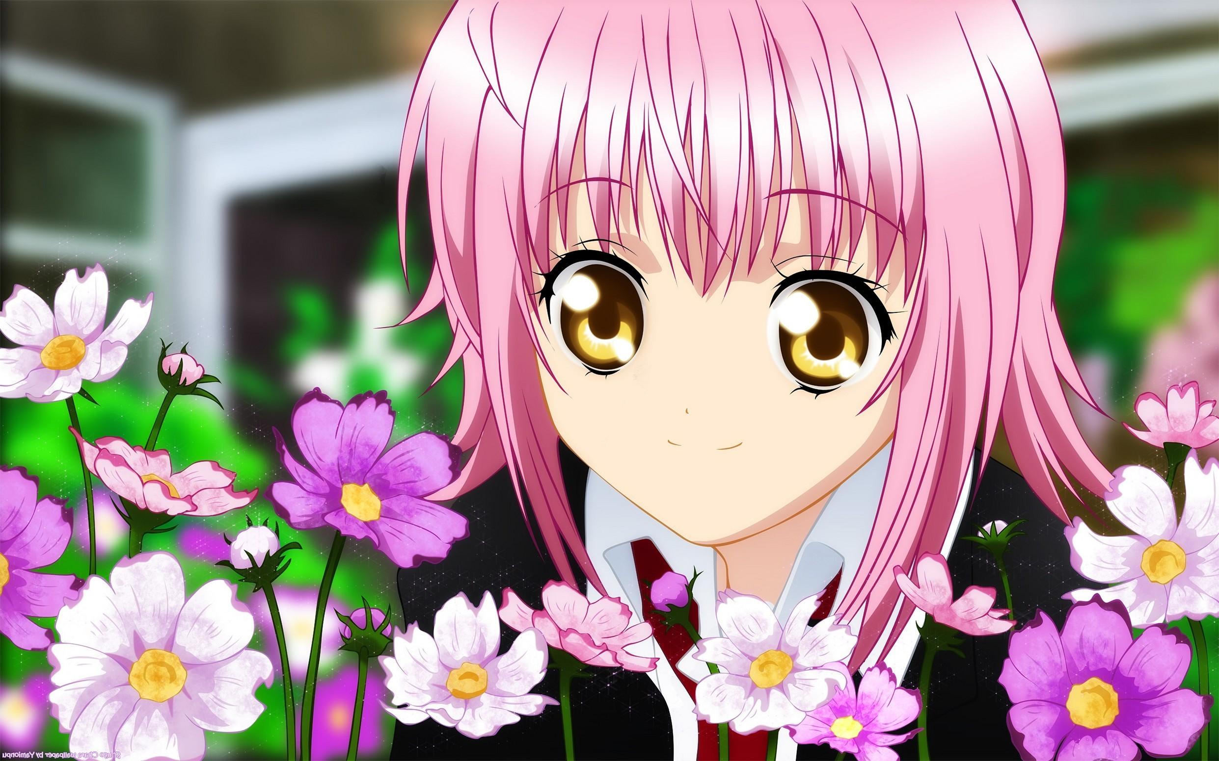 Girl Cute Flowers Smiling Pink Favorite Anime Wallpaper Phone