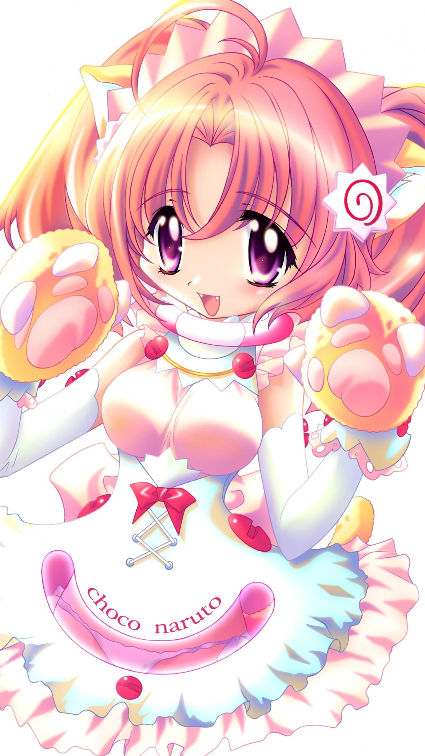 Wallpaper girl, cute, smile, costume, cat