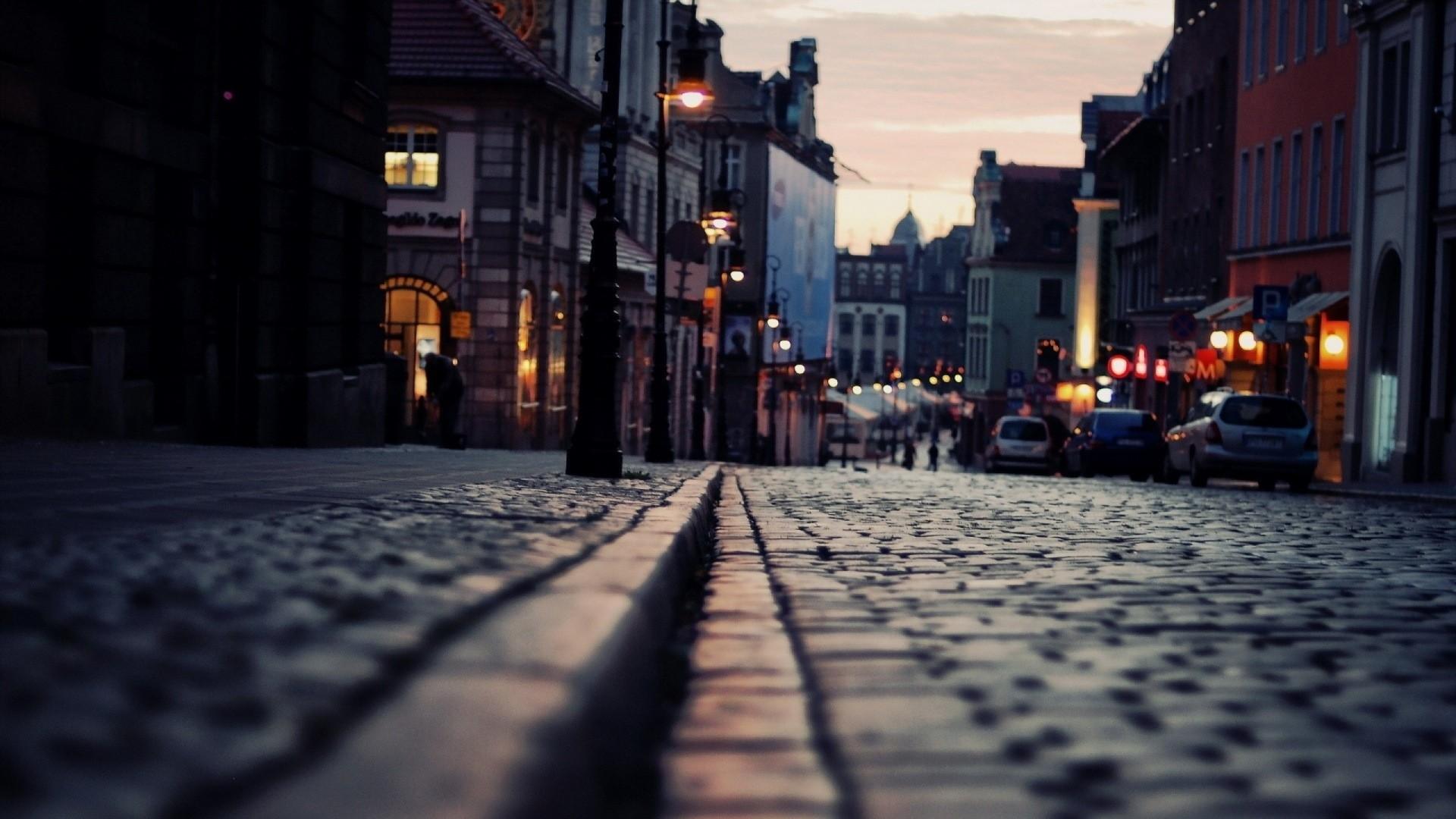 Wallpaper road, night, lights