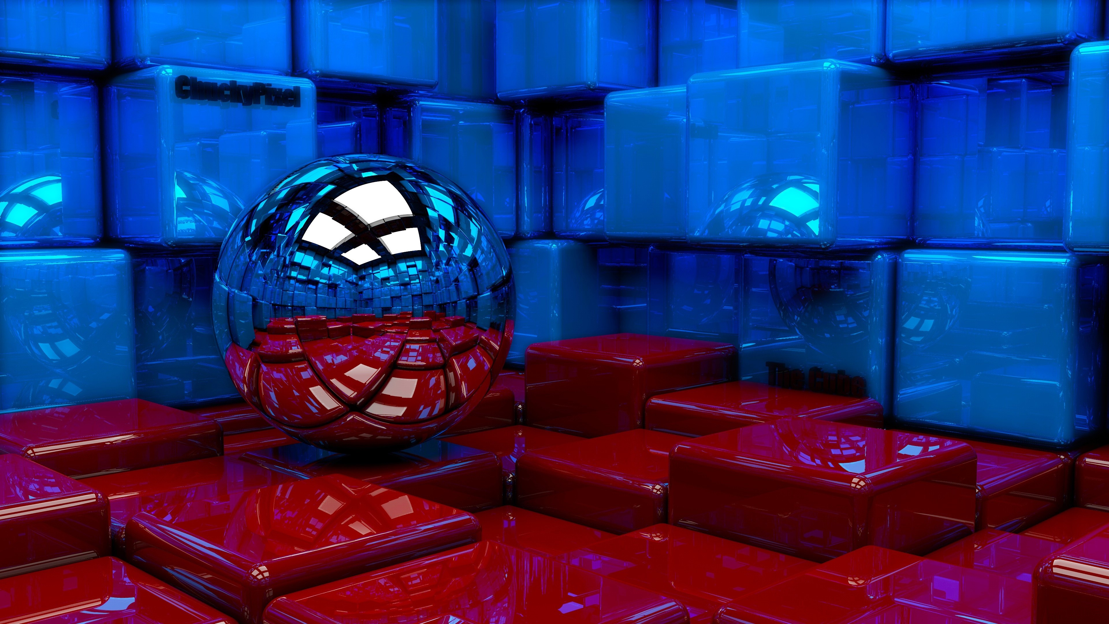 Preview wallpaper ball, cubes, metal, blue, red, reflection 3840×2160