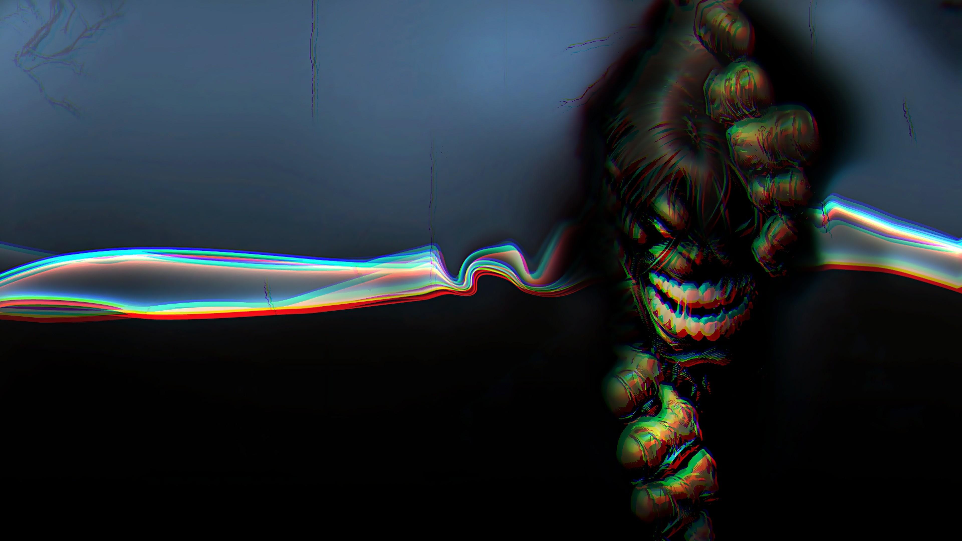 … Background 4K Ultra HD. Wallpaper hulk, 3d, anaglyph,  graphics, bright