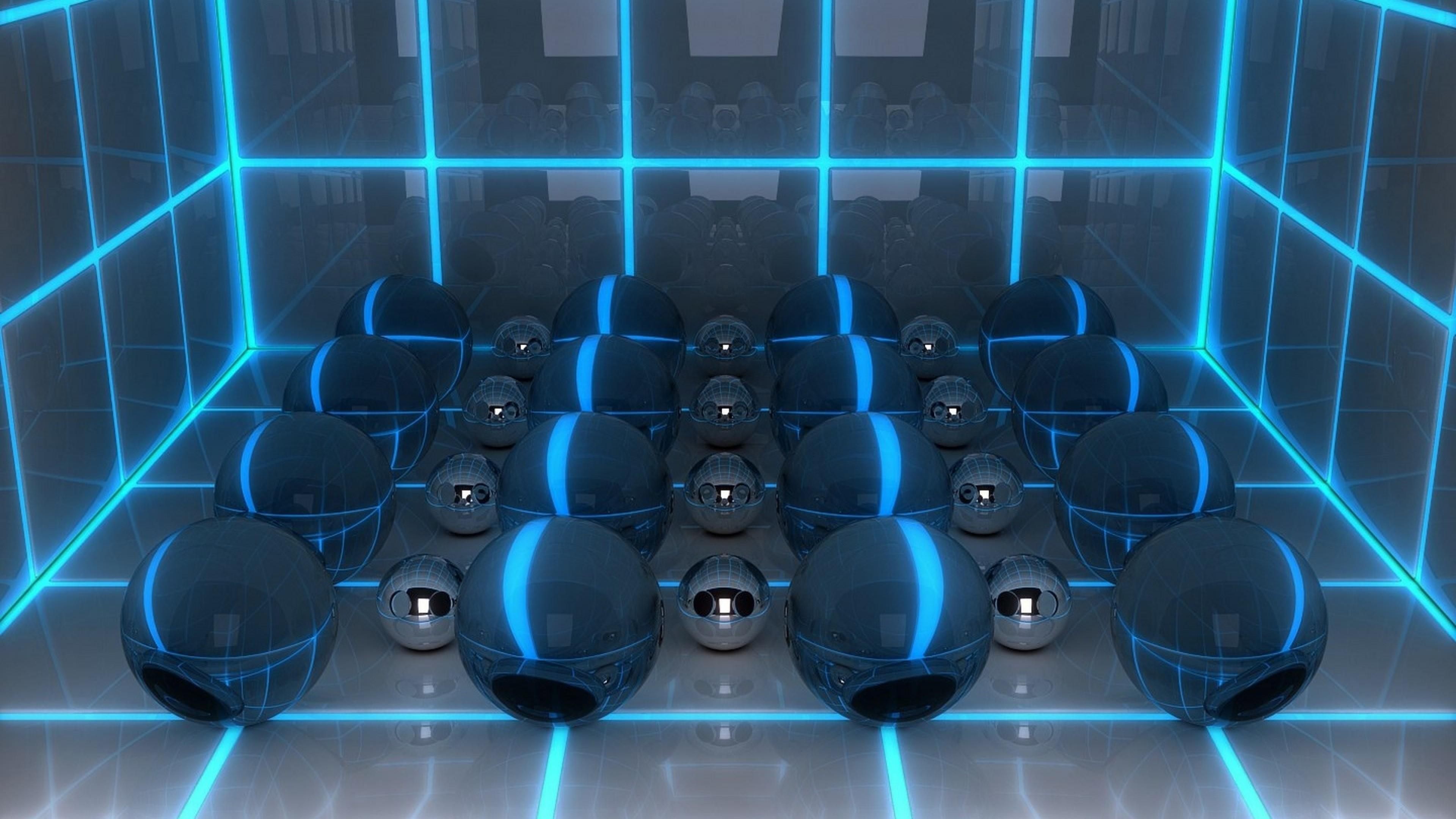 … Background 4K Ultra HD. Wallpaper digital art, 3d, balls, neon