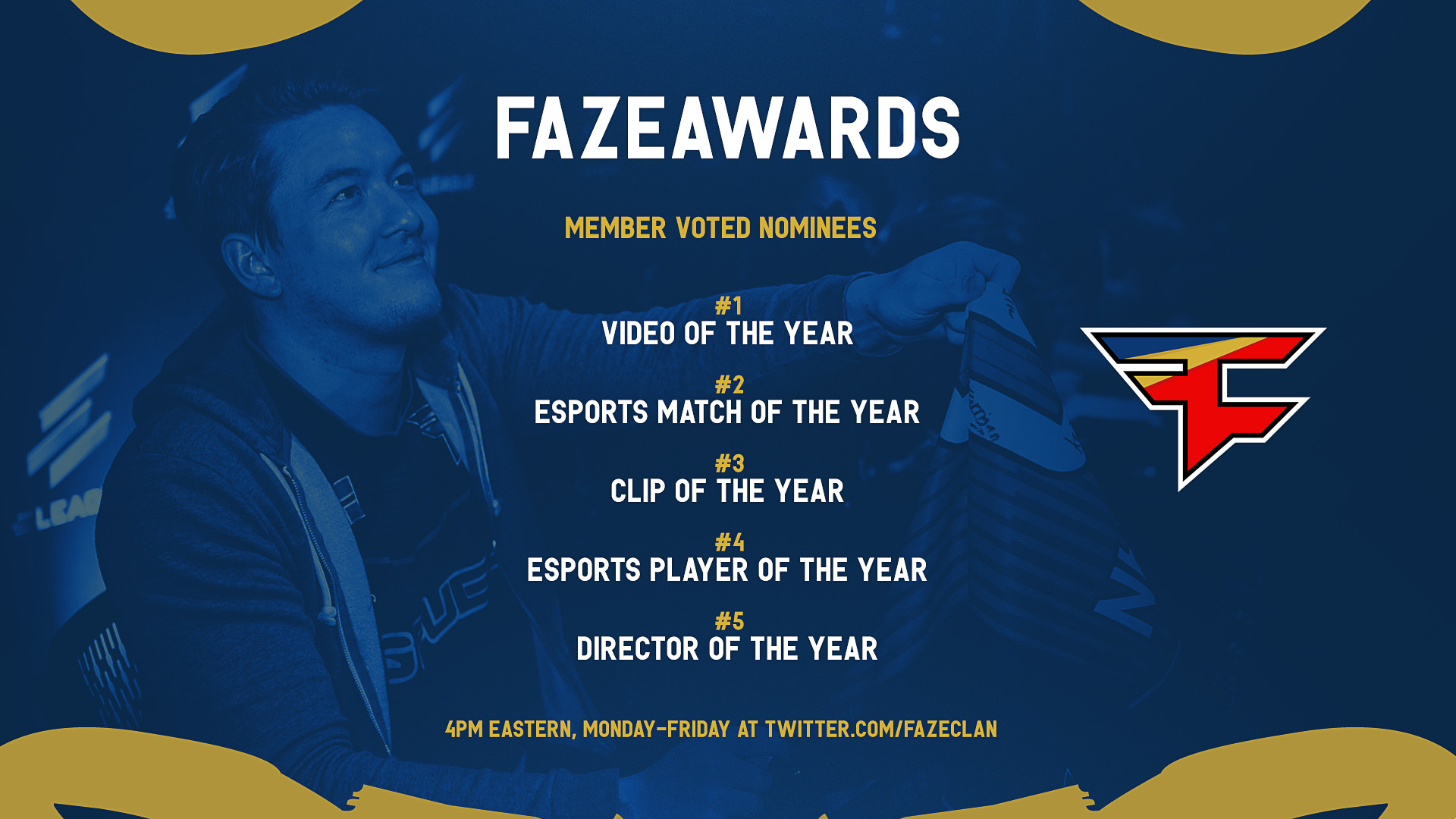 """FaZe Clan on Twitter: """"Voting for the #FaZeAwards is ready to open! Come  back here each day this week to help us decide a winner in the following …"""