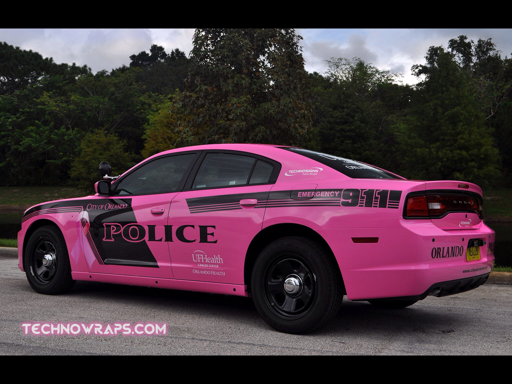 Law enforcement vehicle wrap designed by TechnoSigns in Orlando, Florida  for breast cancer awareness month