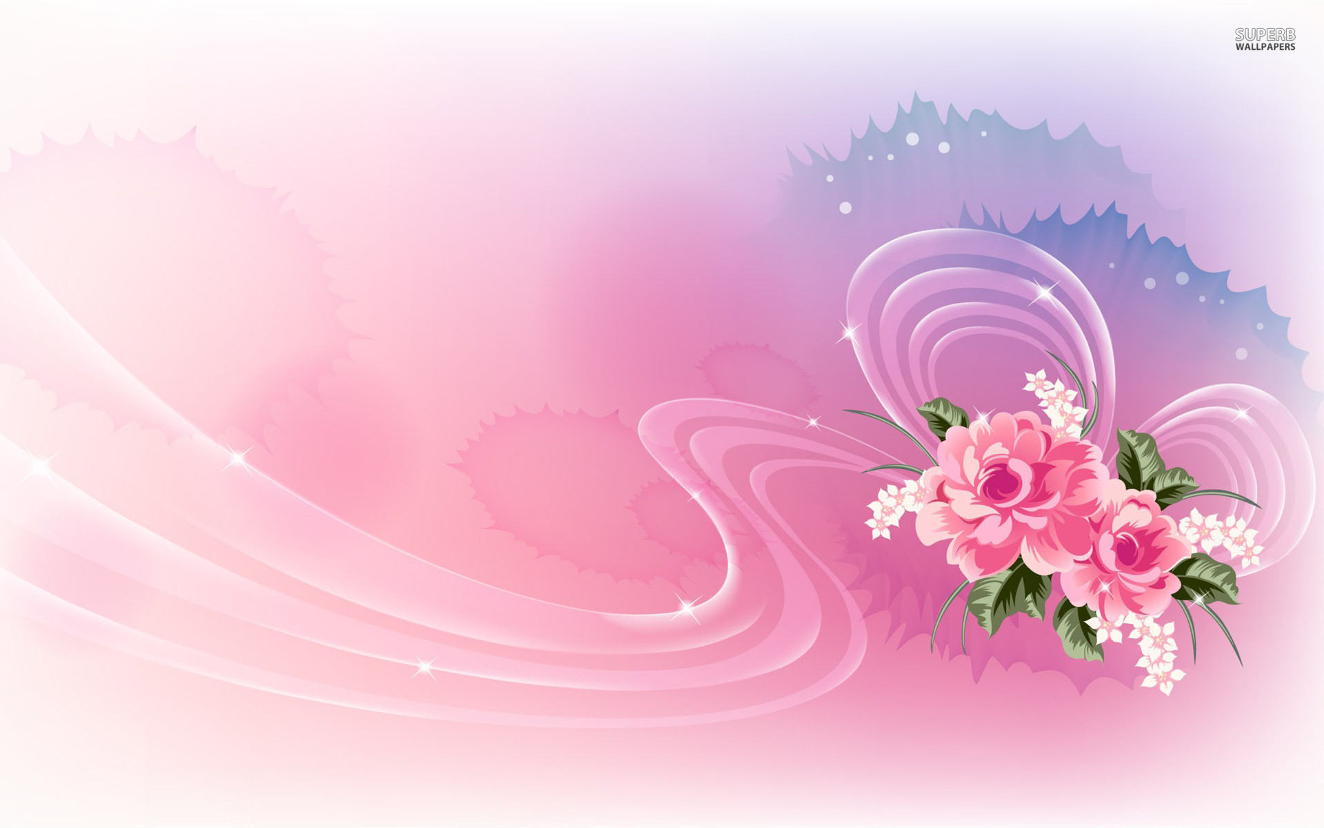Pink Roses & Lucent Ribbon wallpapers   Pink Roses & Lucent Ribbon .