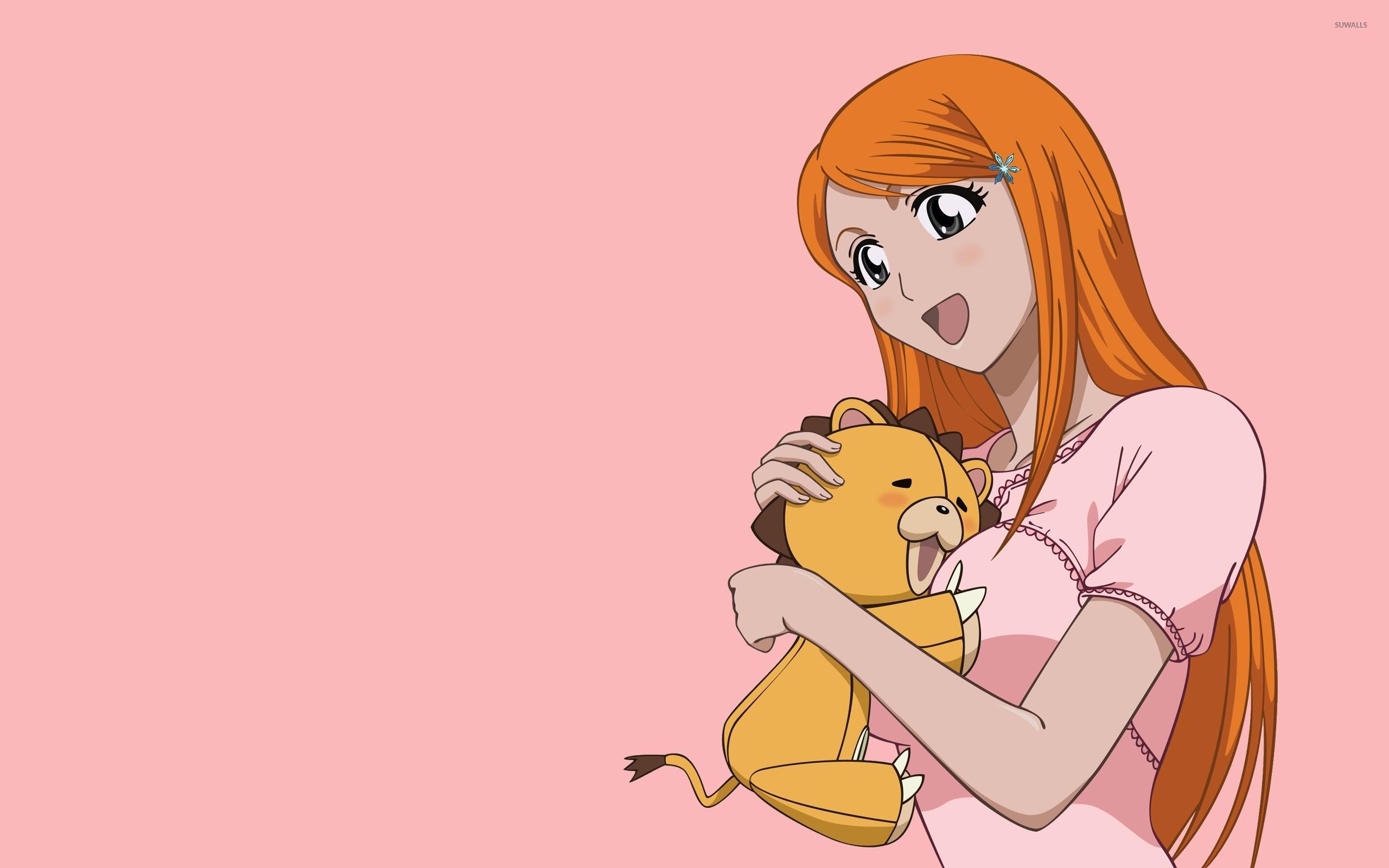 Kon and Inoue Orihime hugging – Bleach wallpaper