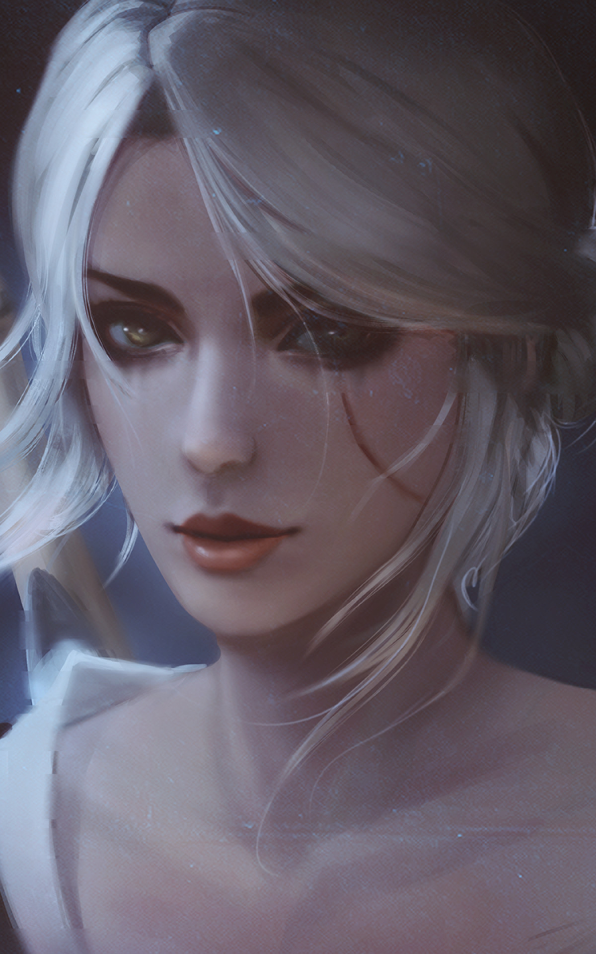 … Portrait Wallpapers. The Witcher 3:wild Hunter, Cirilla Fiona, Scar,  Silver Hair, Face